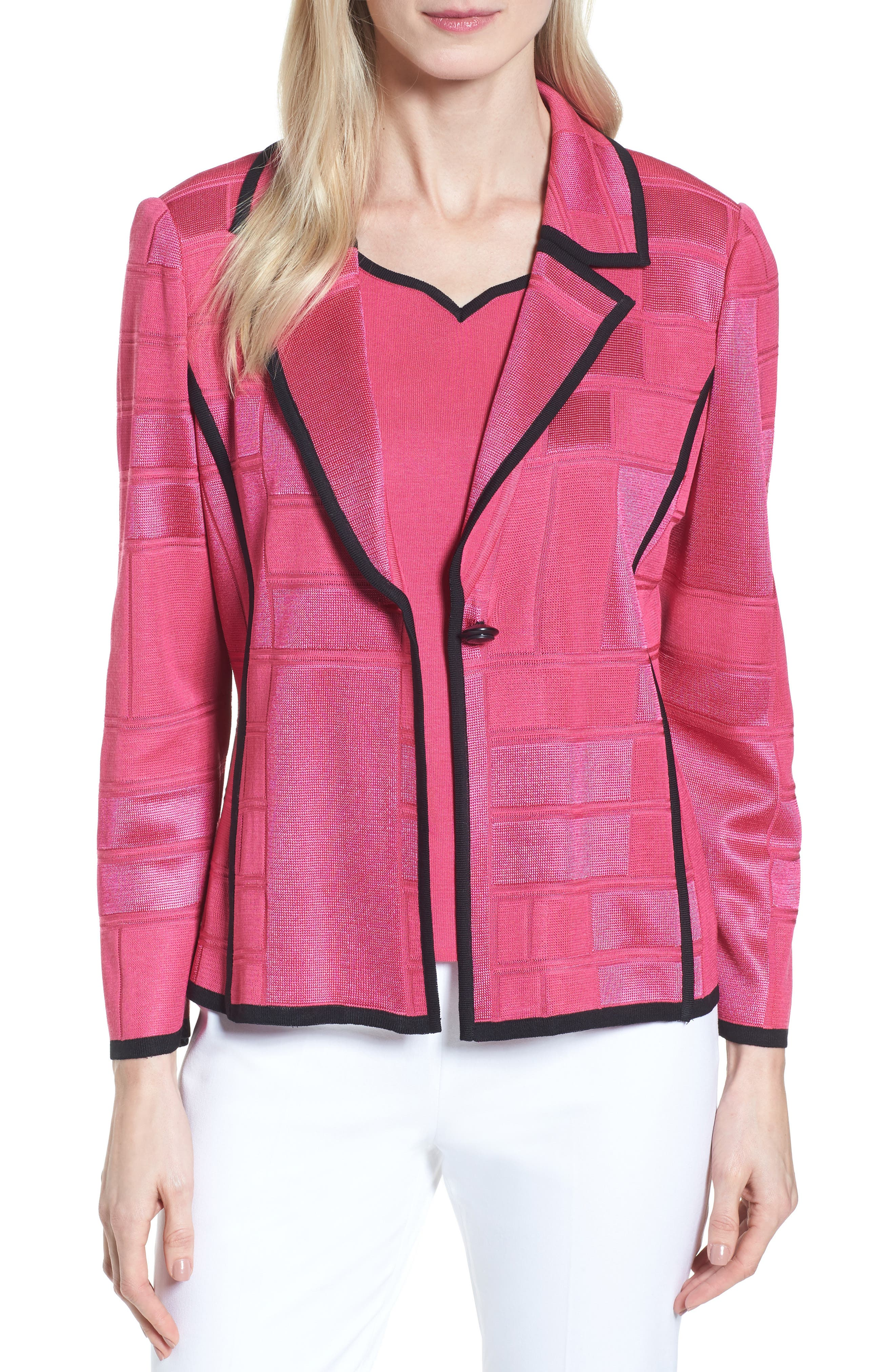 Contrasting Trim Grid Blazer,                         Main,                         color, Dahlia/ Black