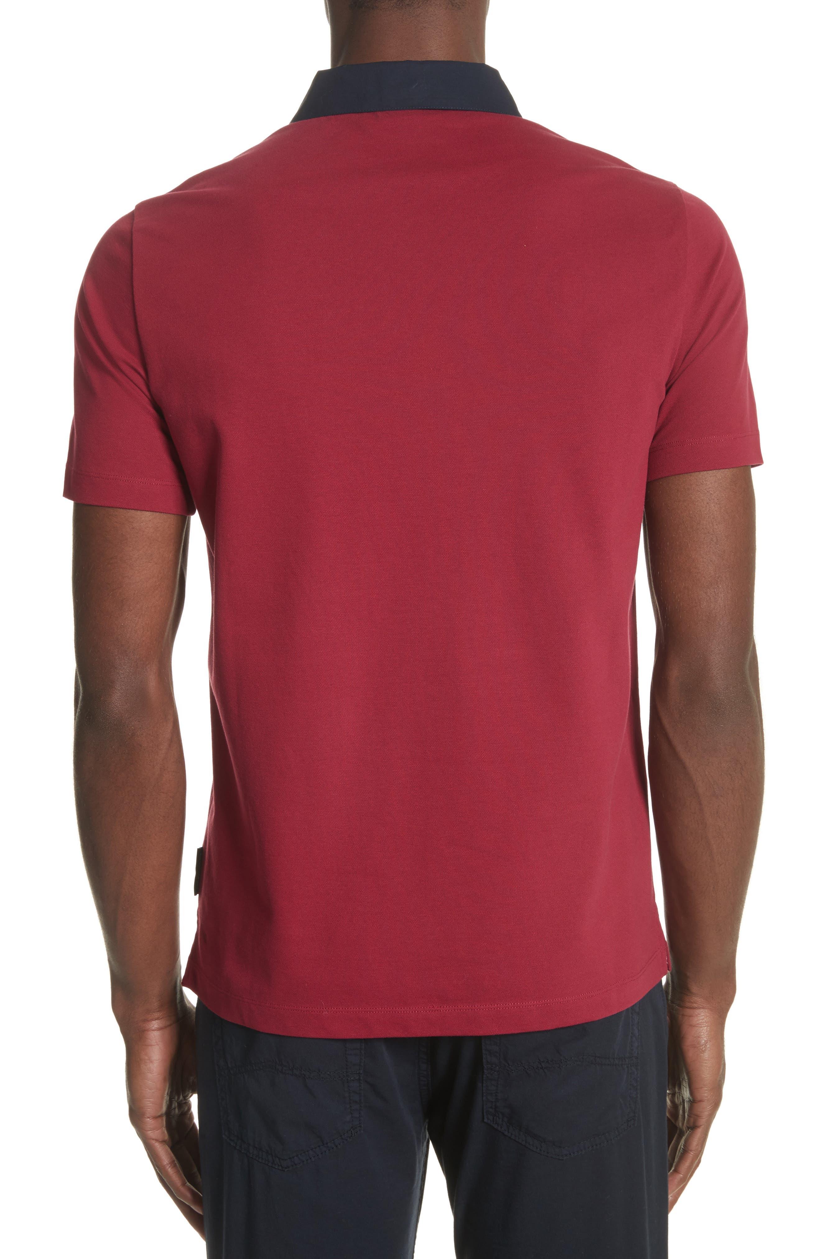 Slim Fit Piqué Polo Shirt,                             Alternate thumbnail 2, color,                             Borgogna