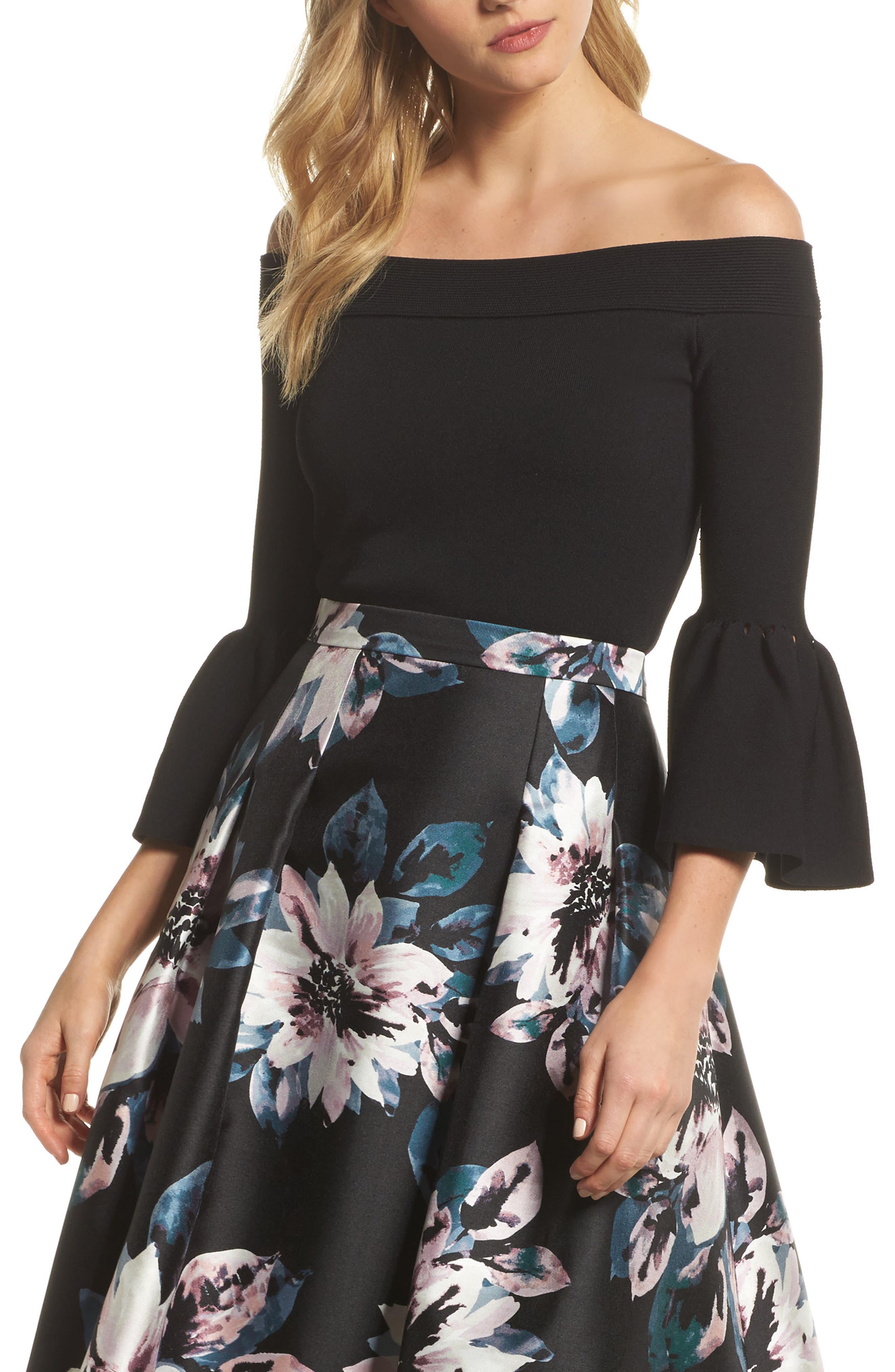 Off the Shoulder Bell Sleeve Top,                             Main thumbnail 1, color,                             Black
