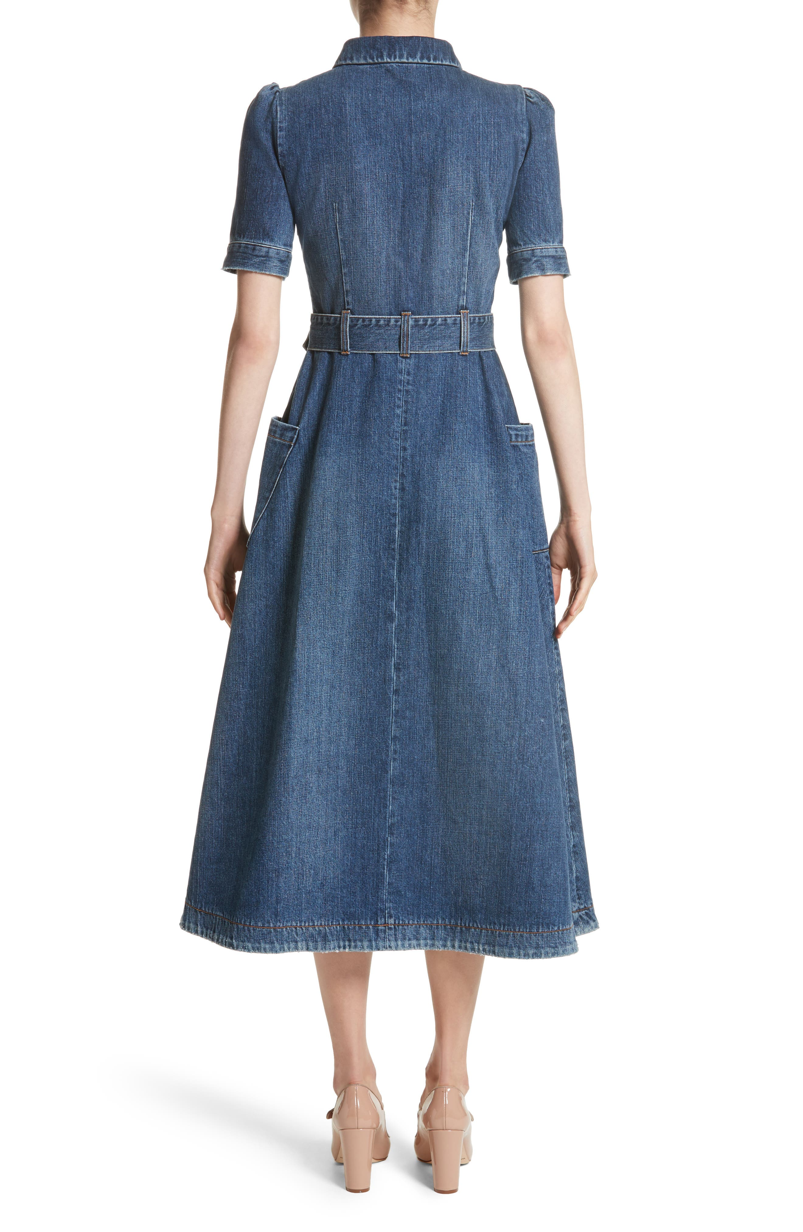 Denim Fit & Flare Midi Dress,                             Alternate thumbnail 3, color,                             Indigo