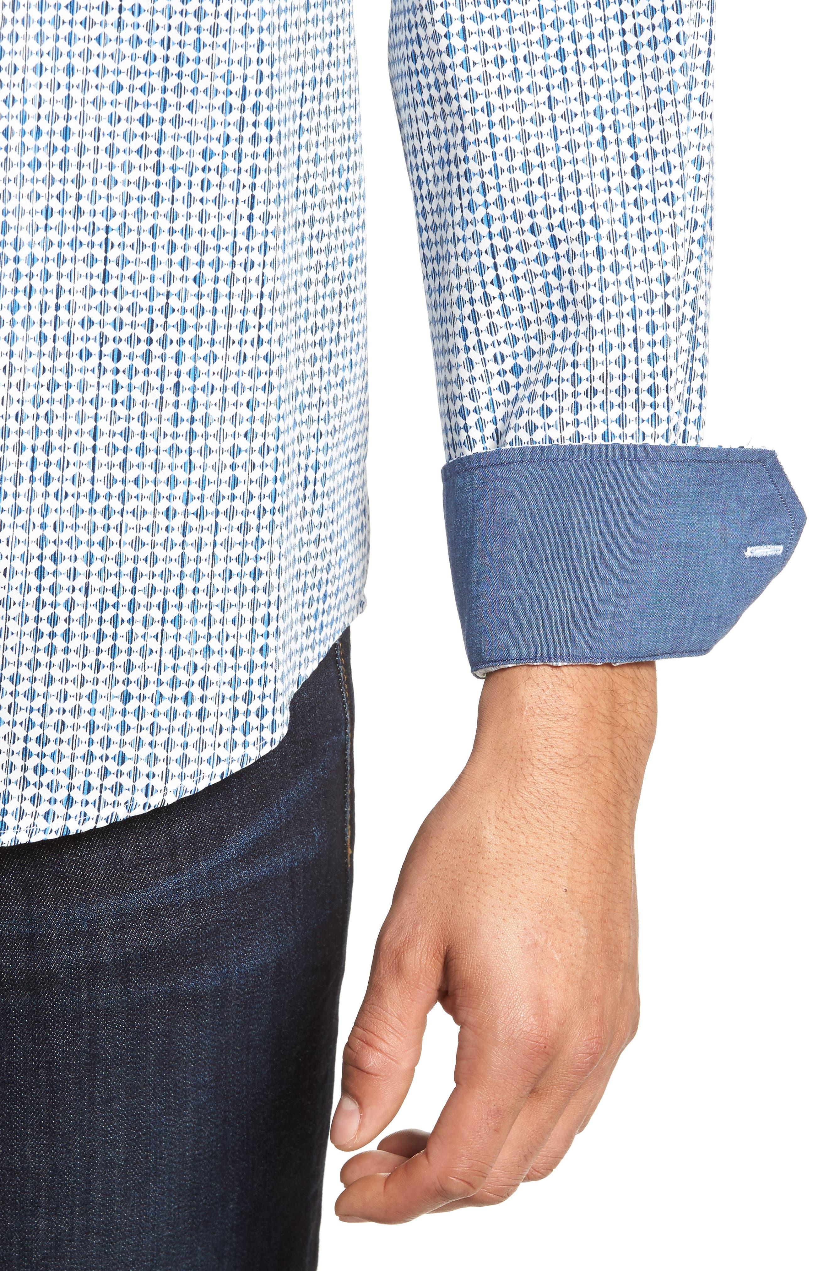 Classic Fit Print Sport Shirt,                             Alternate thumbnail 4, color,                             Air Blue
