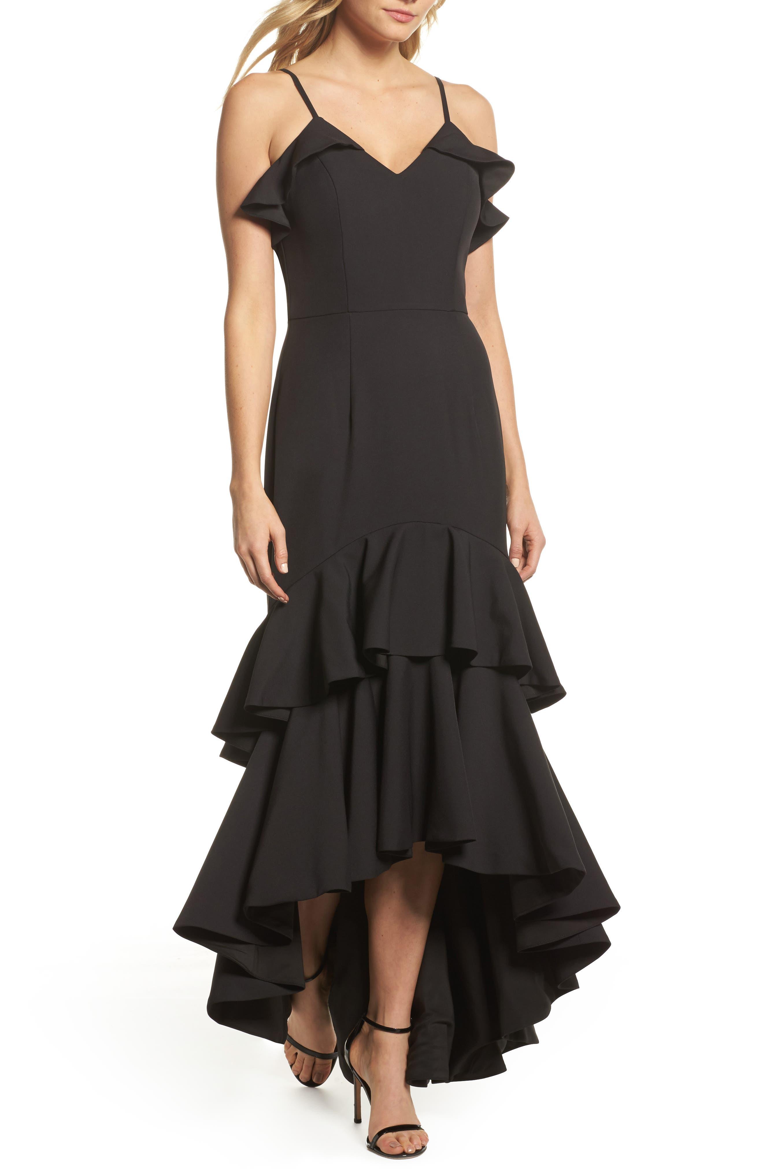 Mina Ruffle Gown,                         Main,                         color, Black