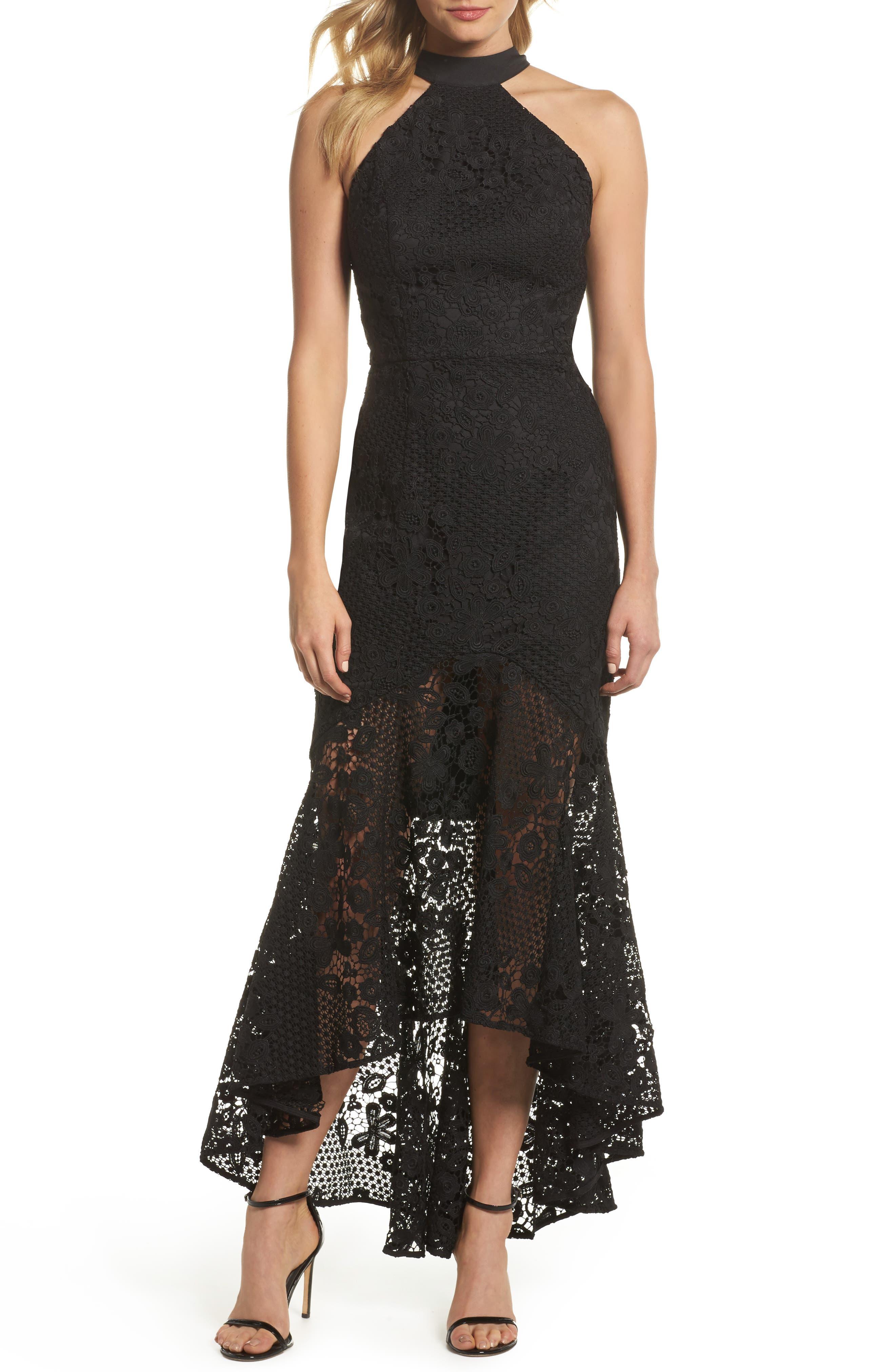 Pascal Lace Halter Neck Gown,                             Main thumbnail 1, color,                             Black