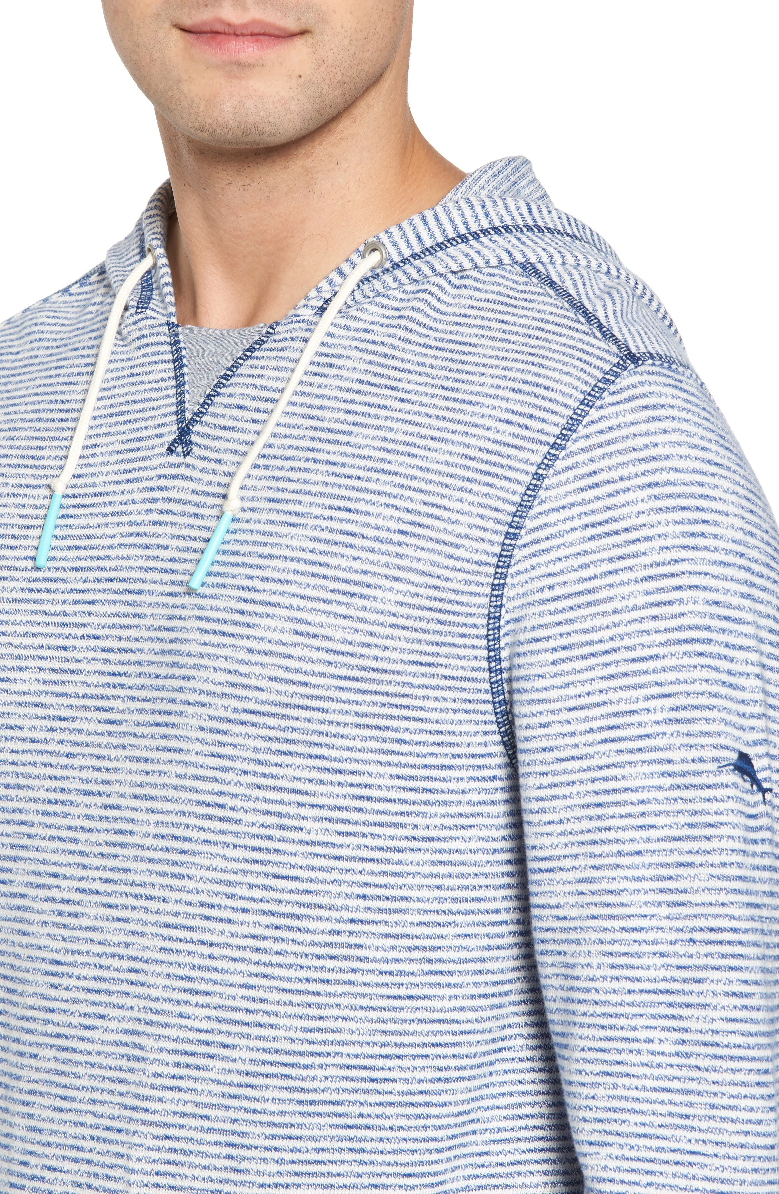 Bayfront Stripe Hooded Pullover,                             Alternate thumbnail 4, color,                             Galaxy Blue