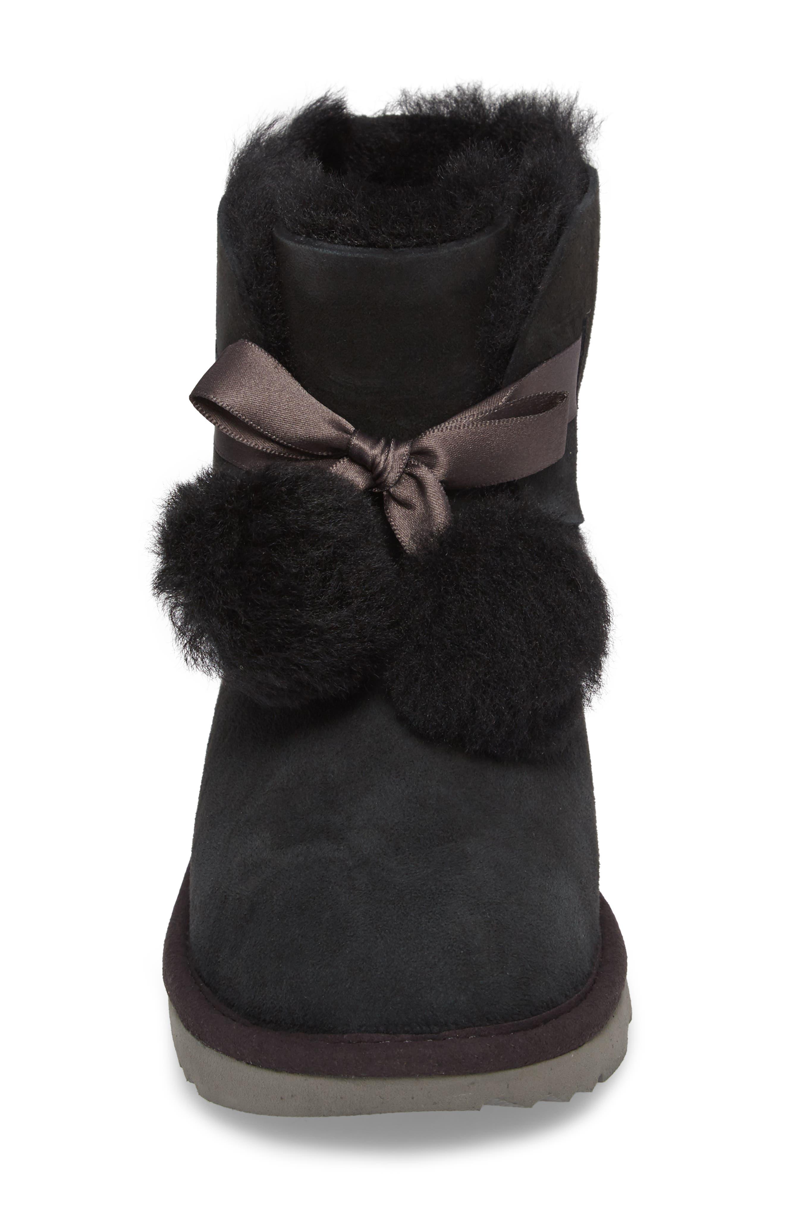 Gita Water-Resistant Genuine Shearling Pom Bootie,                             Alternate thumbnail 4, color,                             Black