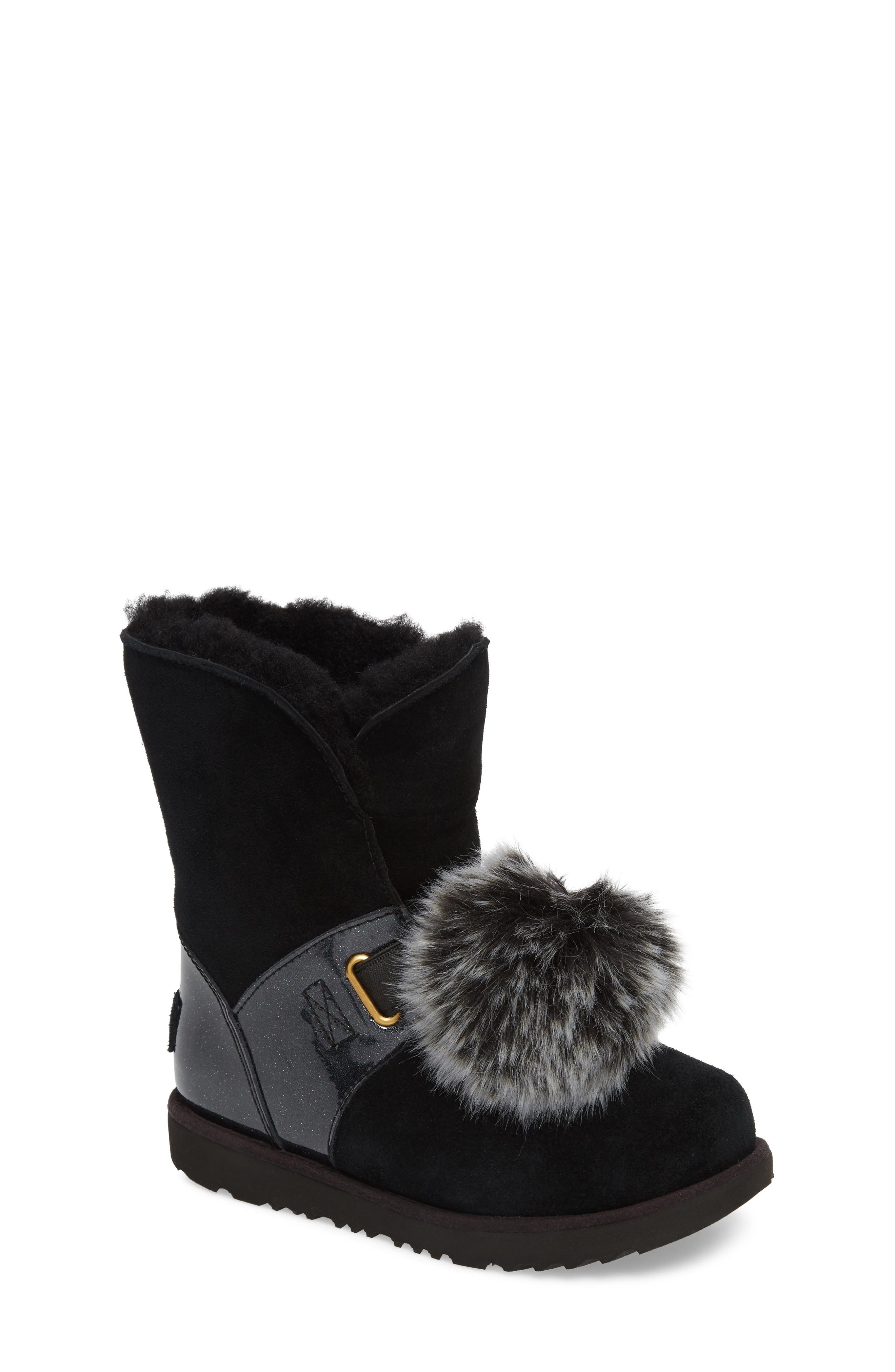 Isley Genuine Shearling Waterproof Pom Bootie,                             Main thumbnail 1, color,                             Black