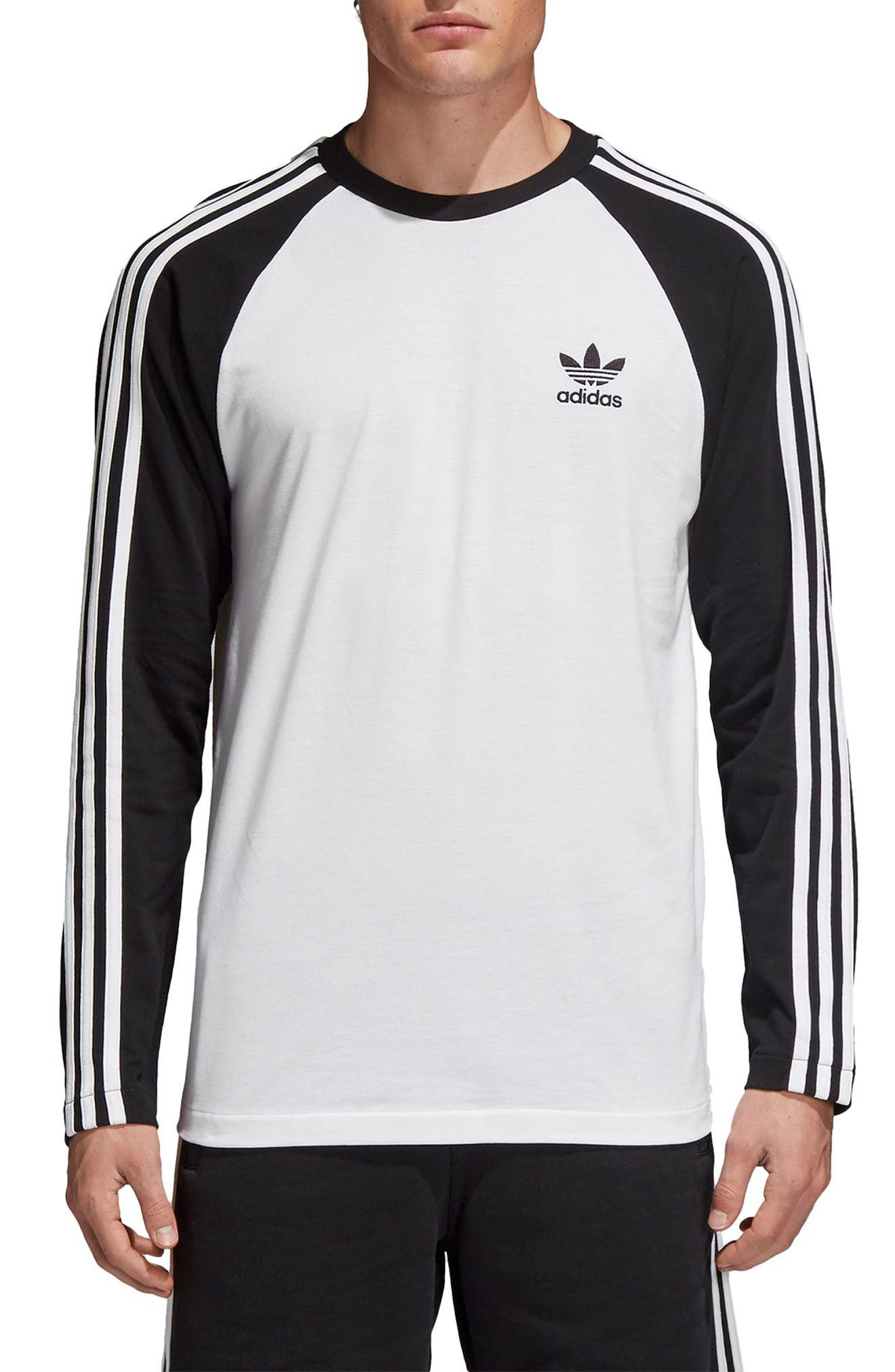 3-Stripes Long Sleeve T-Shirt,                             Main thumbnail 1, color,                             Black