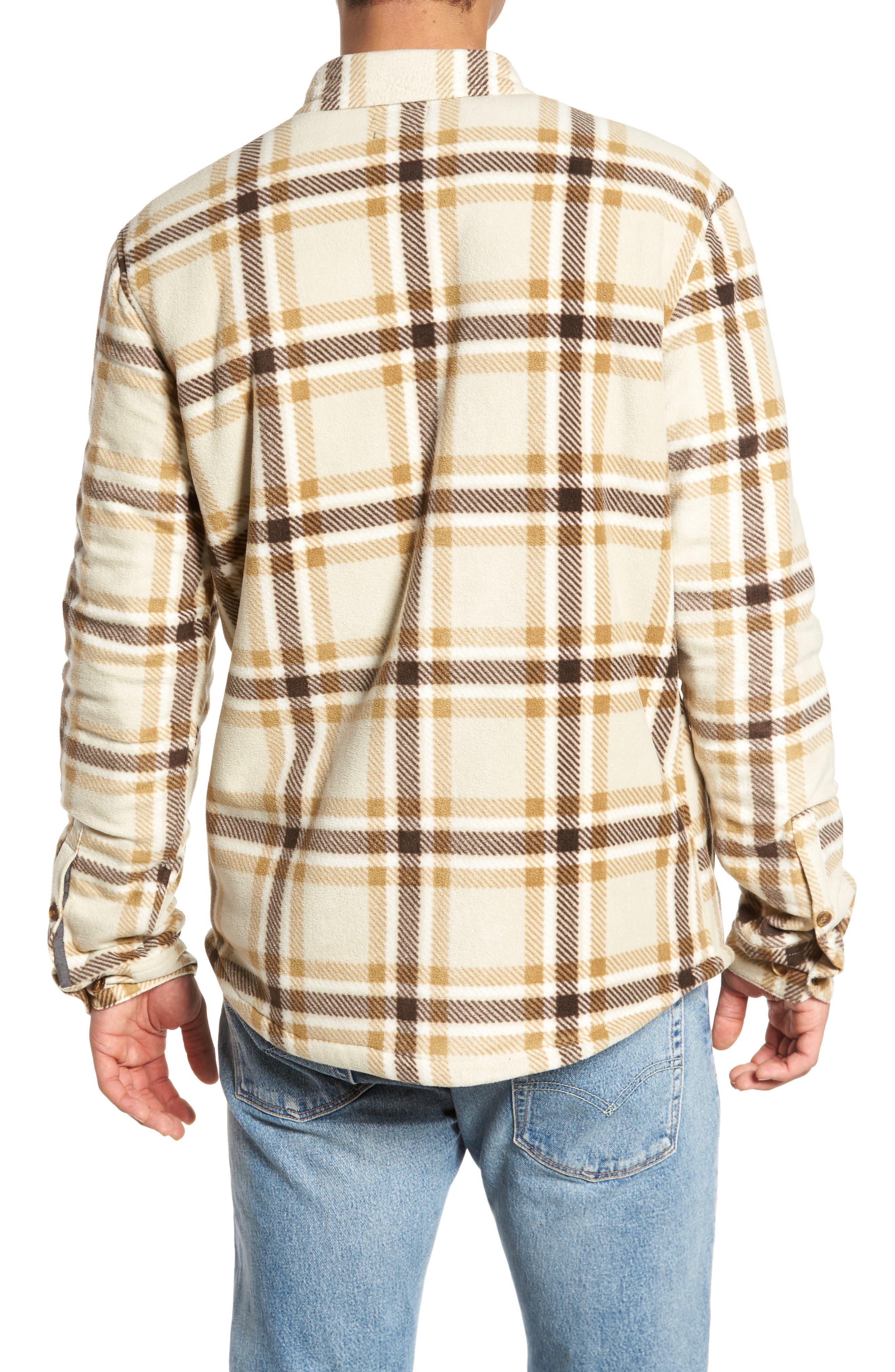 Glacier Heat Dome Plaid Fleece Shirt,                             Alternate thumbnail 2, color,                             Stone