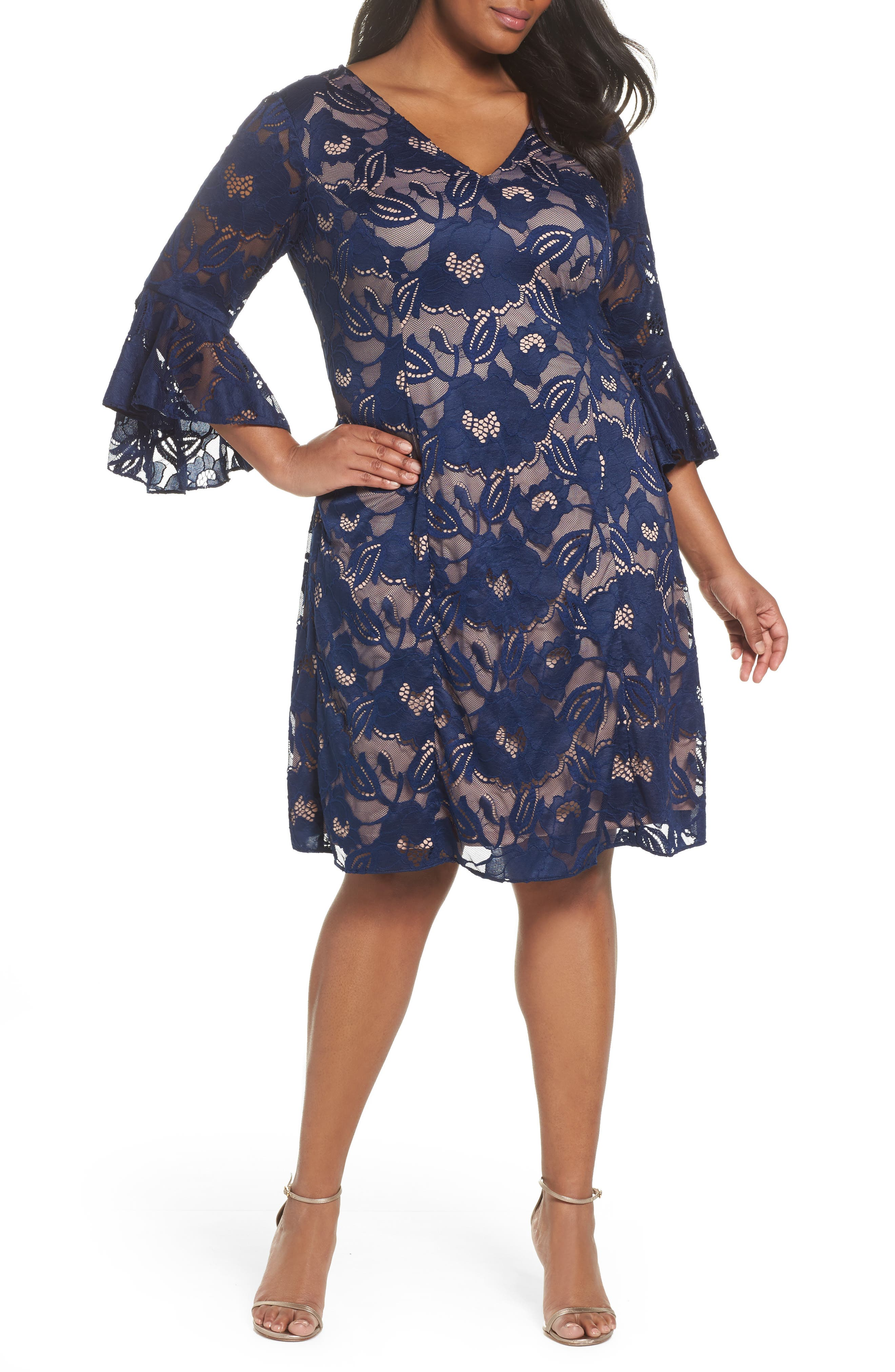 Main Image - Adrianna Papell Ruffle Sleeve Lace Dress (Plus Size)