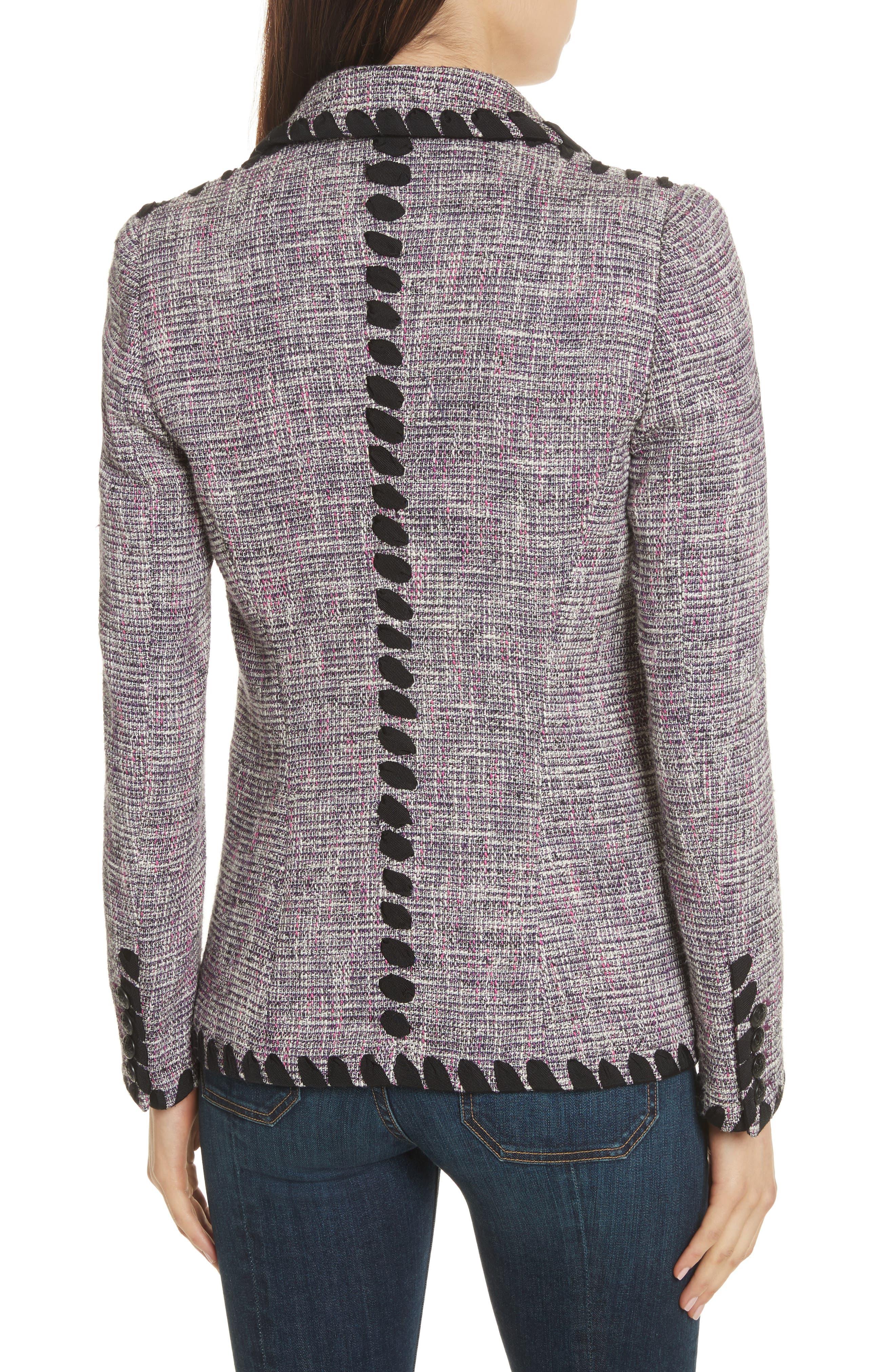 Octivia Tweed Blazer,                             Alternate thumbnail 2, color,                             Pink/ Black/ White