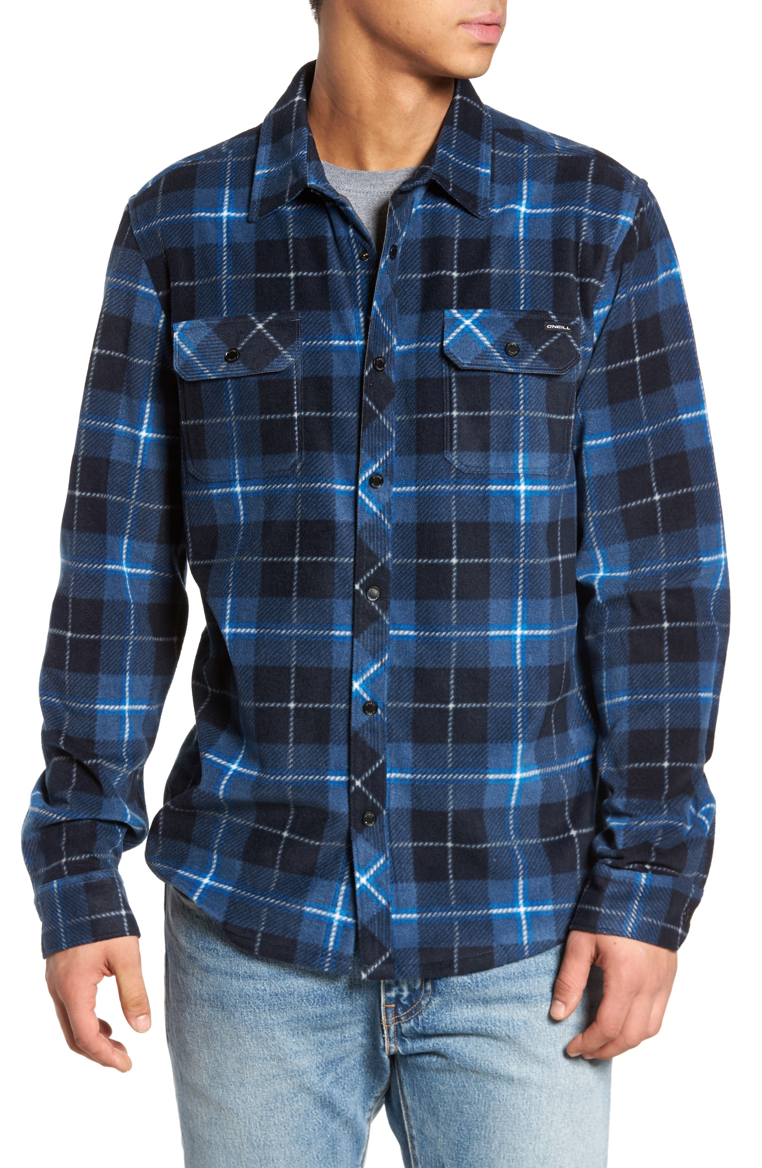 Glacier Plaid Fleece Flannel Shirt,                             Main thumbnail 1, color,                             Ocean