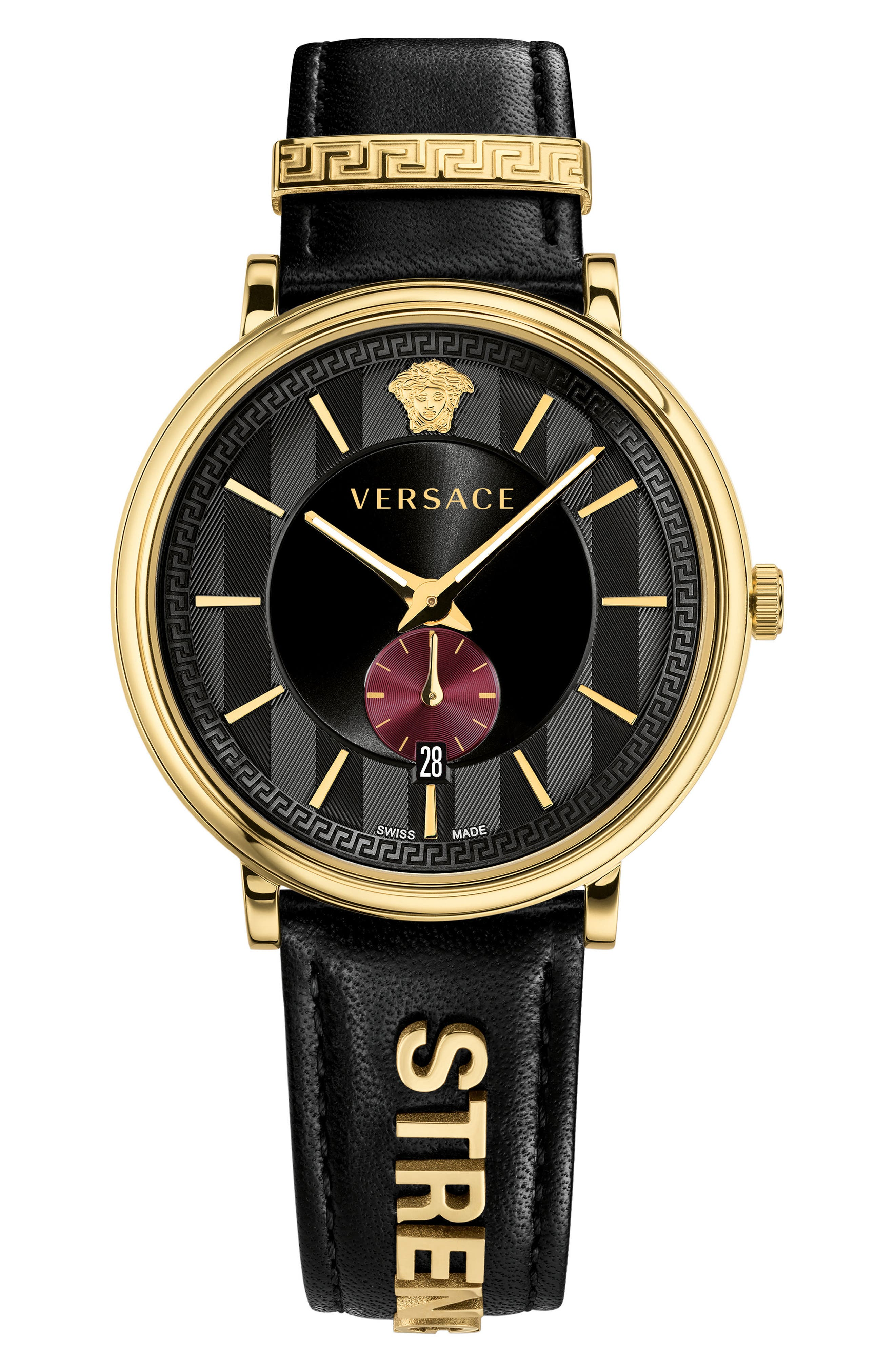 Manifesto - Strength Leather Strap Watch, 42mm,                         Main,                         color, Black/ Blue/ Gold