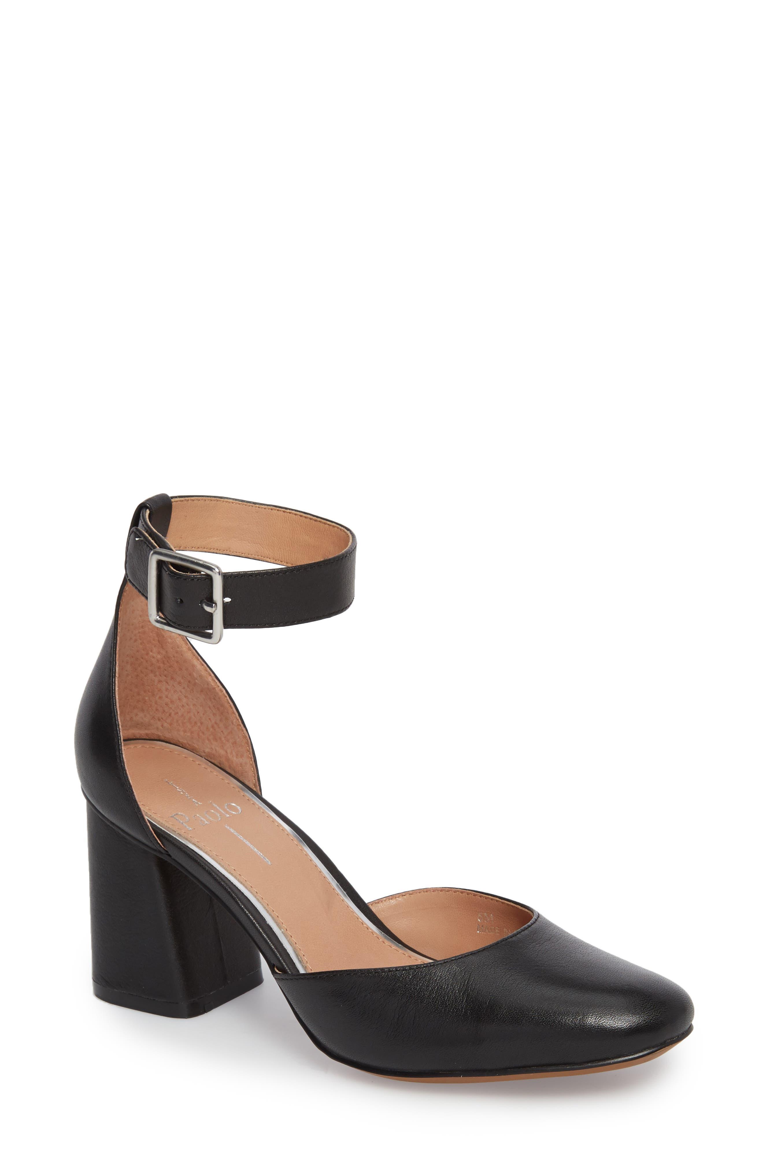 Maya Ankle Strap Pump,                             Main thumbnail 1, color,                             Black Leather