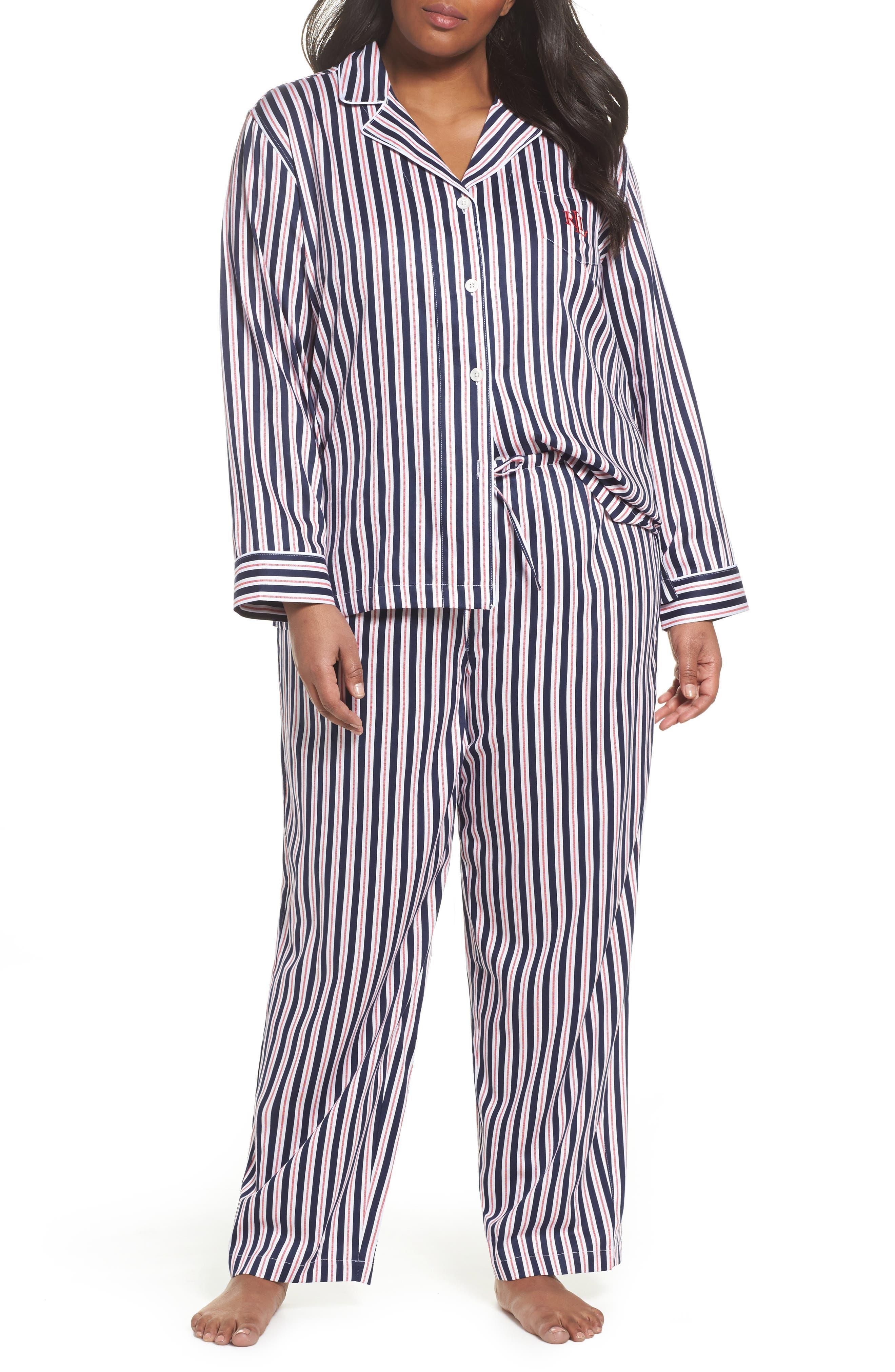Main Image - Lauren Ralph Lauren Sateen Pajamas (Plus Size)
