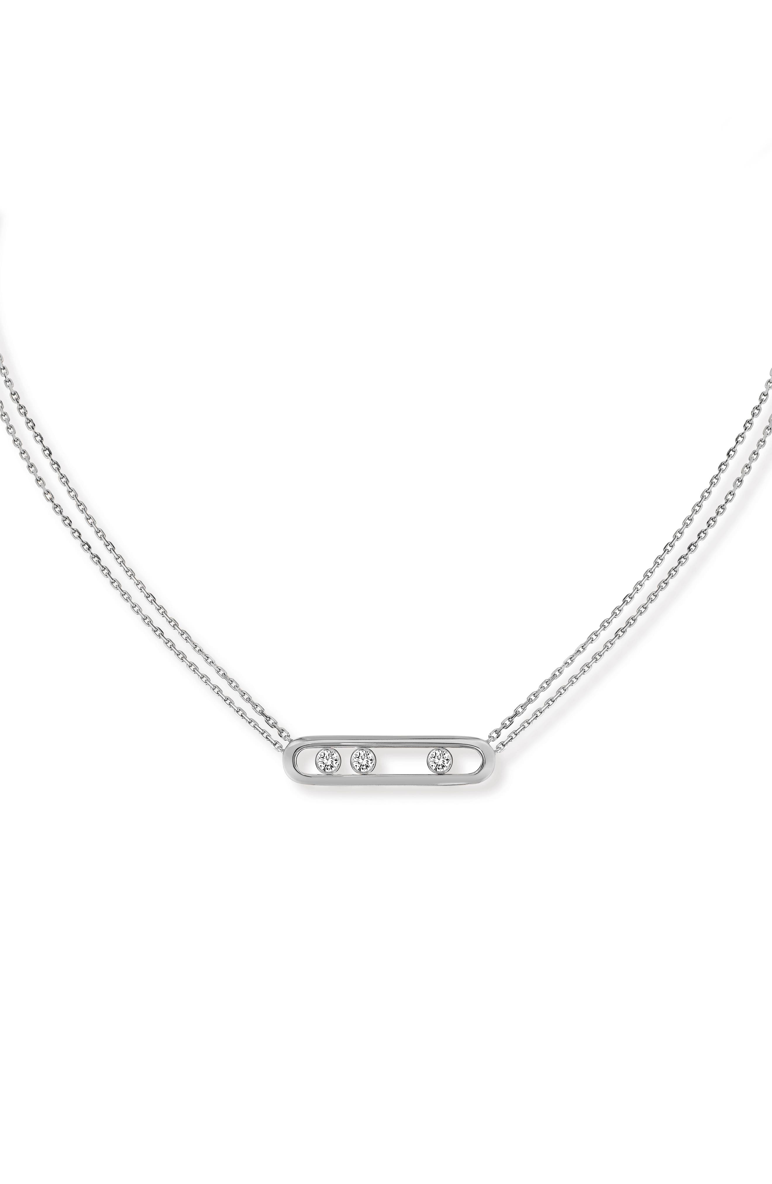 Two Strand Move Diamond Necklace,                             Main thumbnail 1, color,                             White Gold