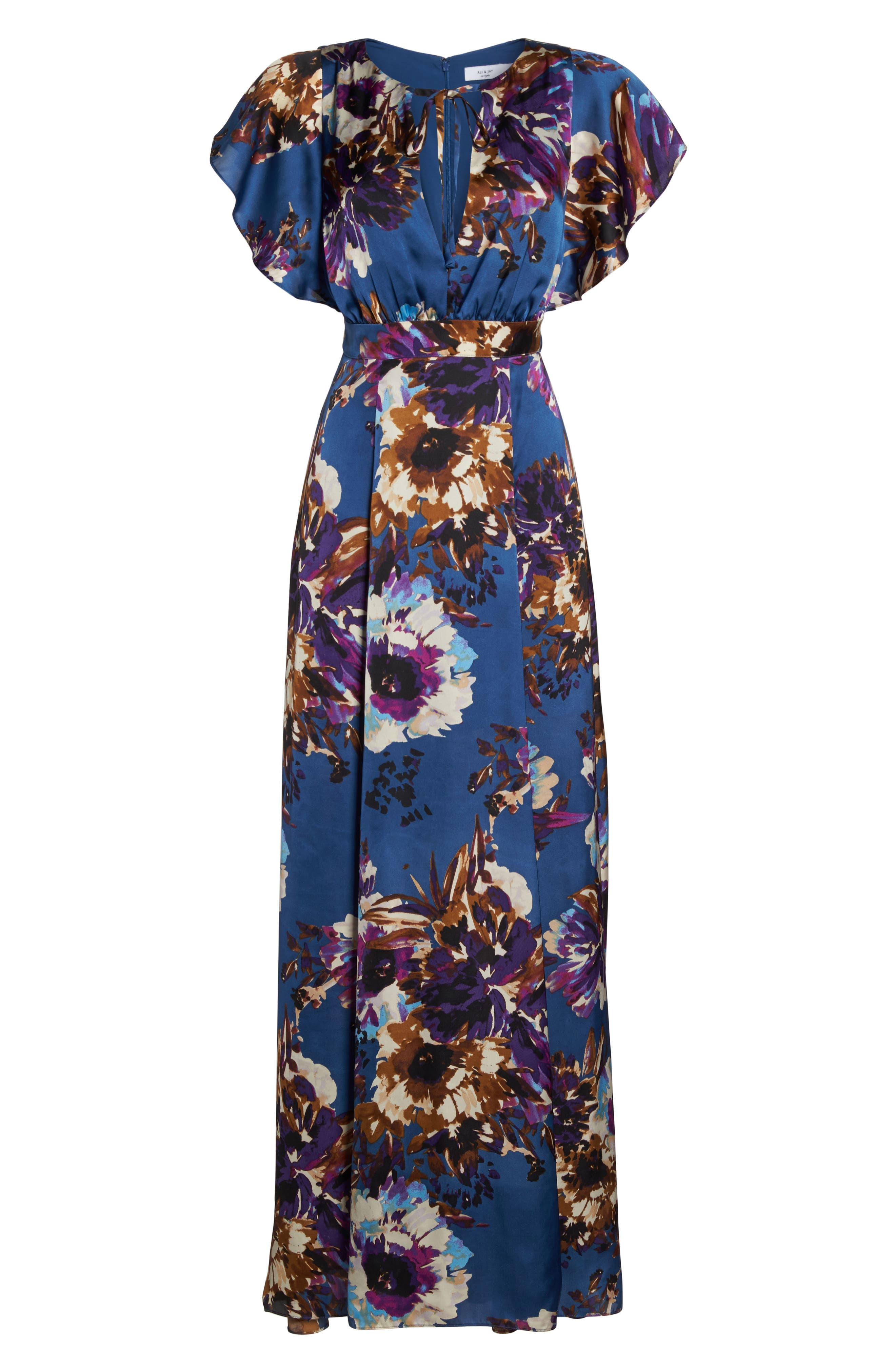 Floral Maxi Dress,                             Alternate thumbnail 5, color,                             French Blue Floral Satin