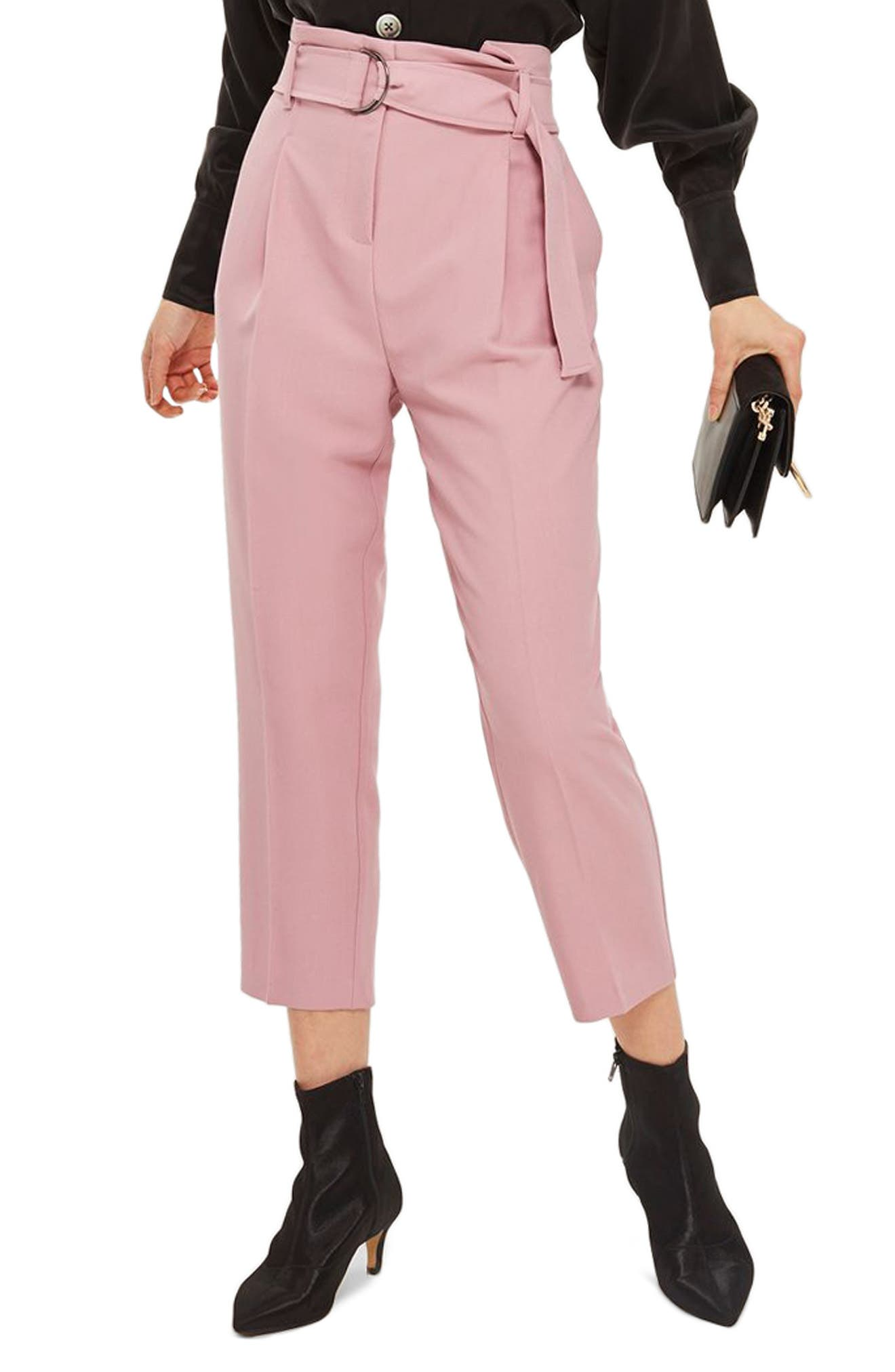 Paperbag Waist Trousers,                         Main,                         color, Pink