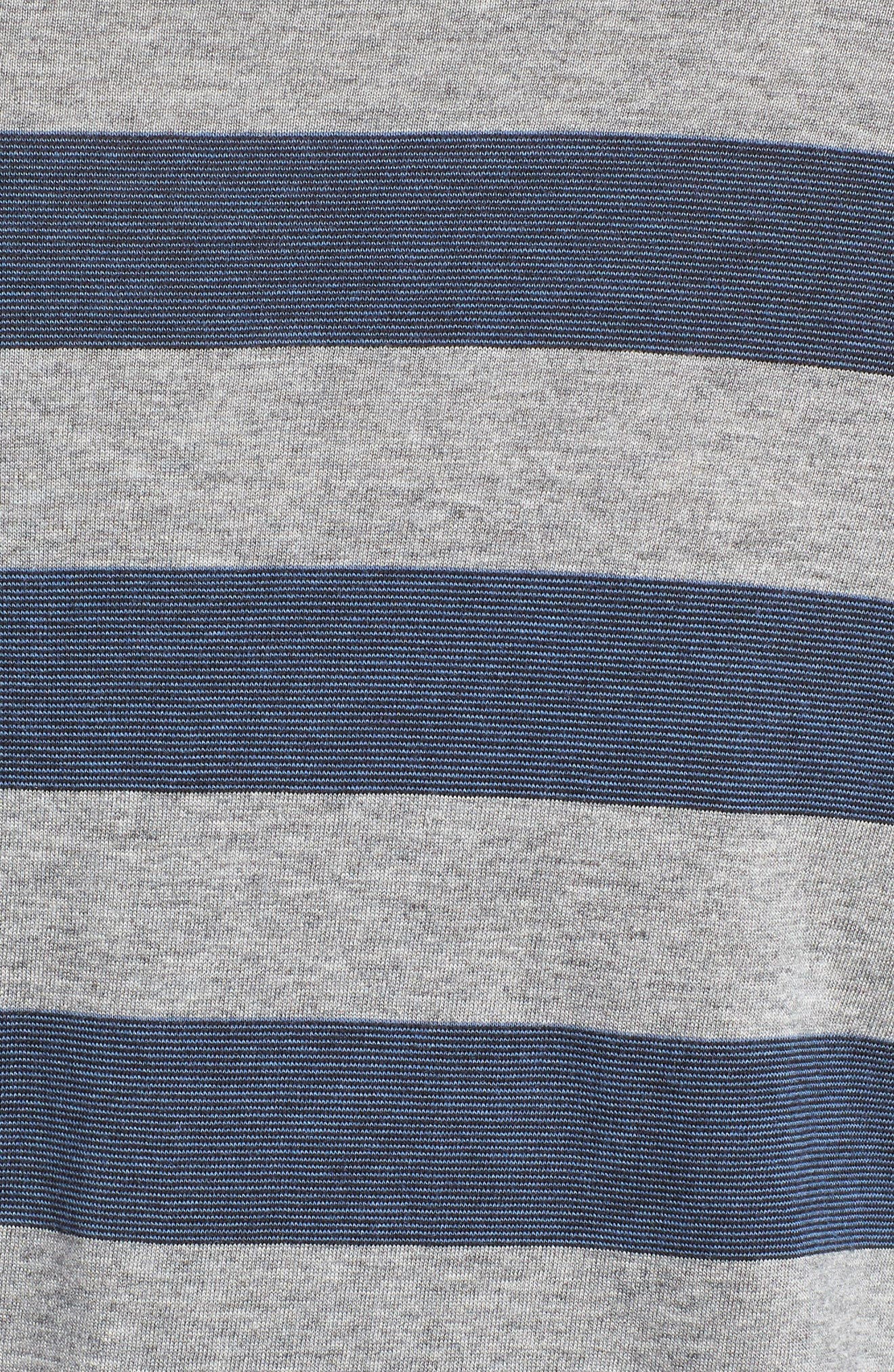 Stripe Pima Cotton & Modal Crewneck T-Shirt,                             Alternate thumbnail 5, color,                             Grey/ Blue