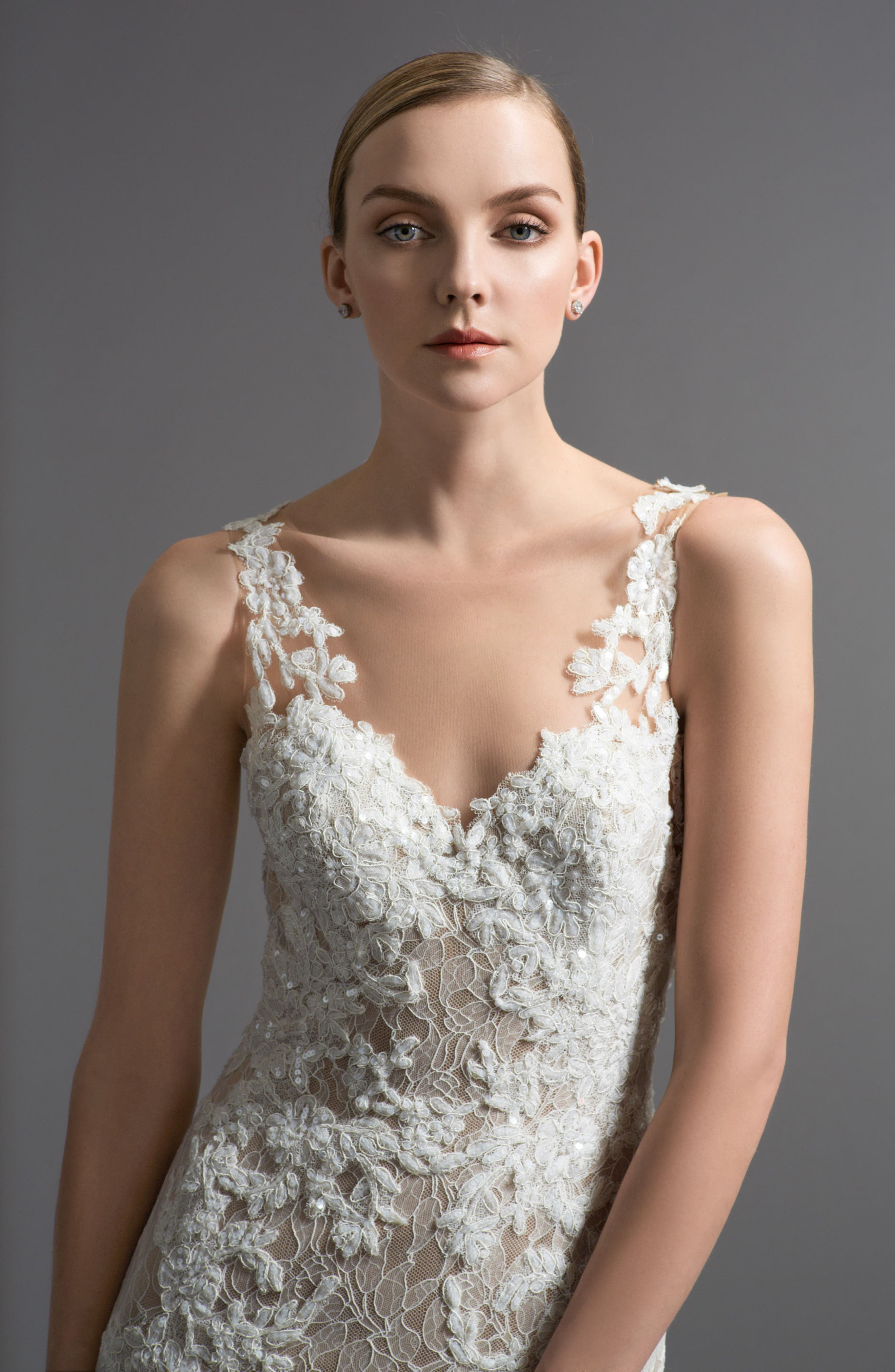 Alternate Image 3  - Watters Cinzia Lace & Tulle Mermaid Gown