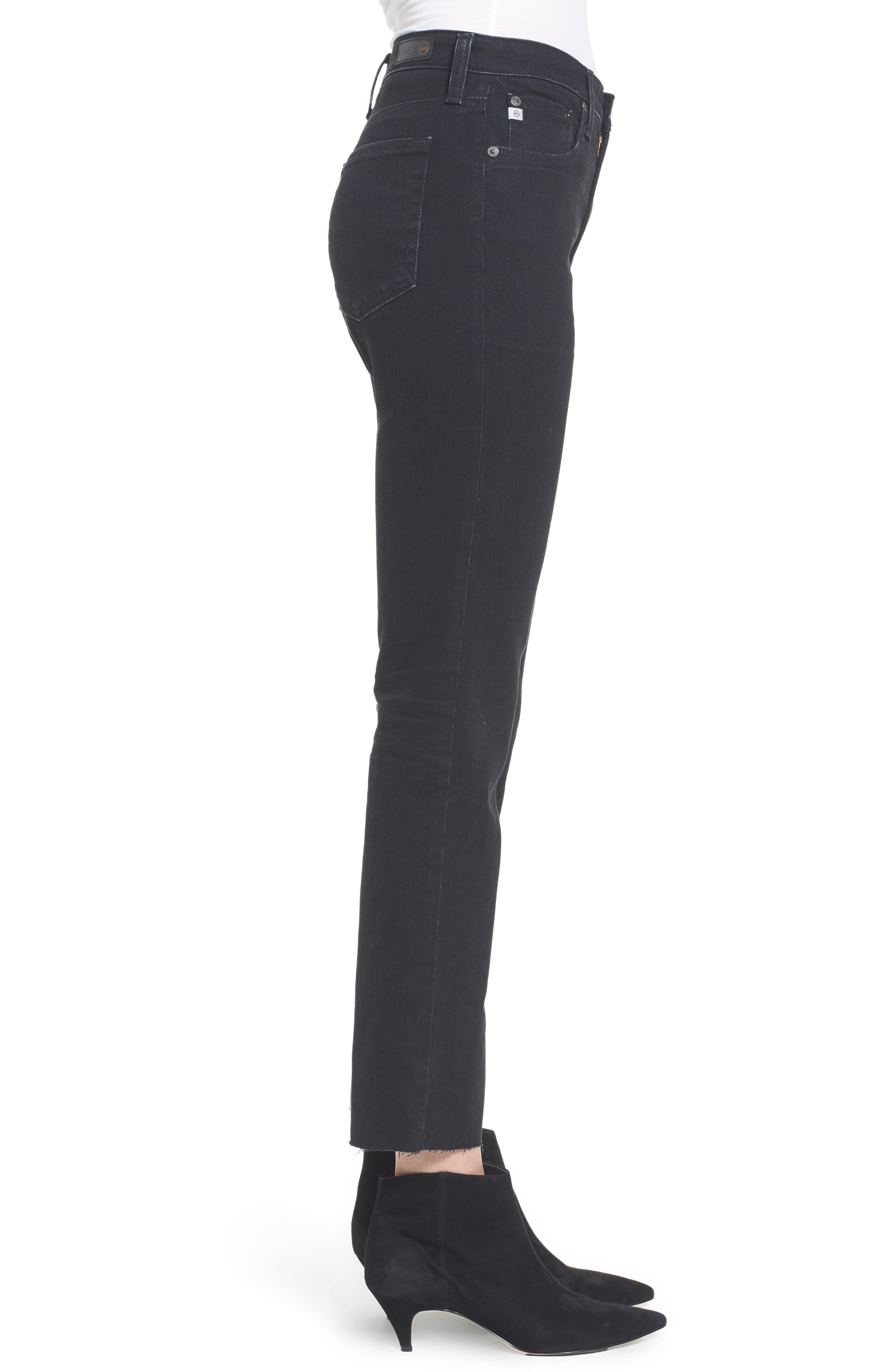 The Isabelle High Waist Crop Straight Leg Jeans,                             Alternate thumbnail 3, color,                             1 Year Black Hawk