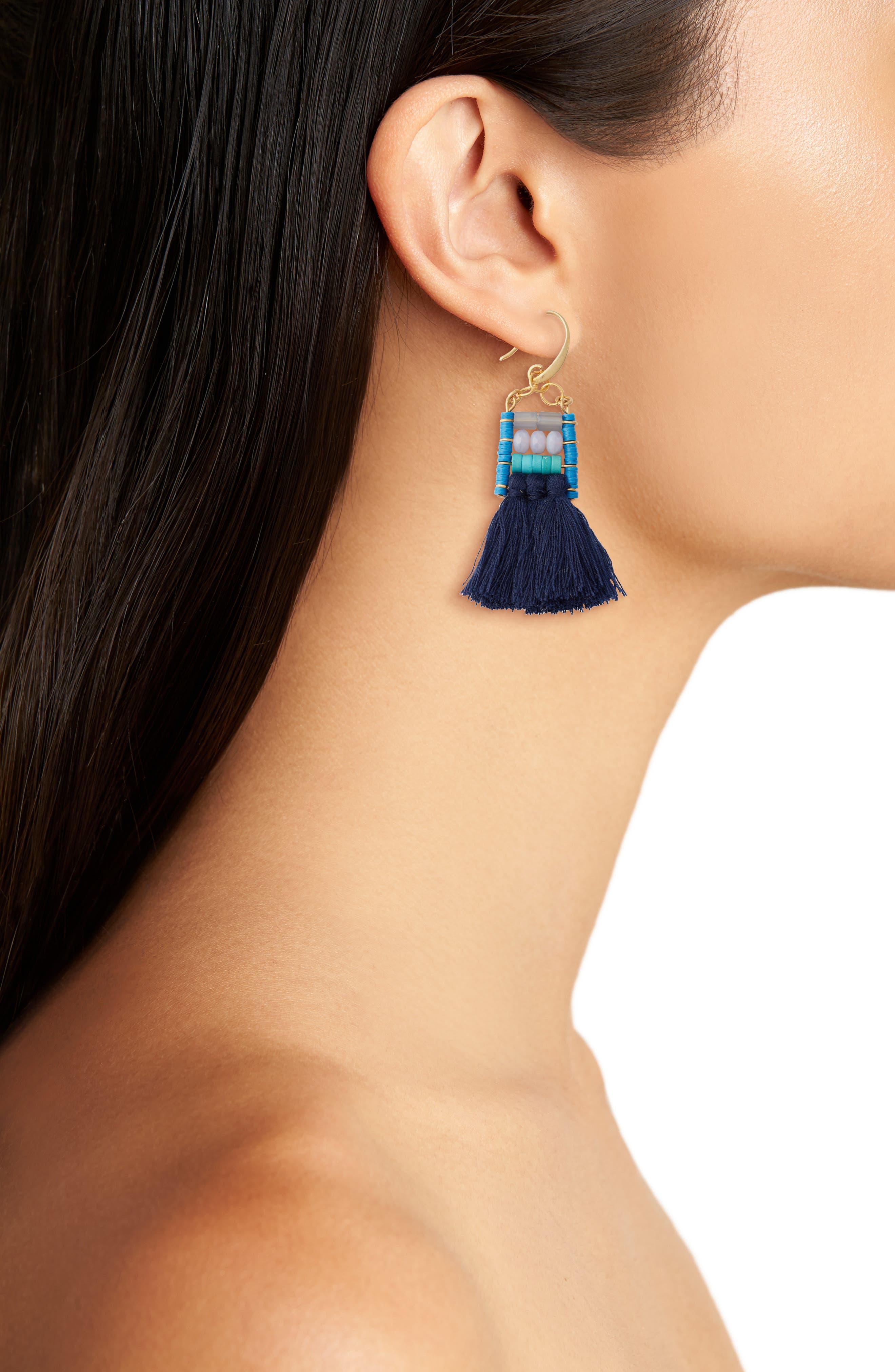 Alternate Image 2  - David Aubrey Rylee Beaded Tassel Earrings