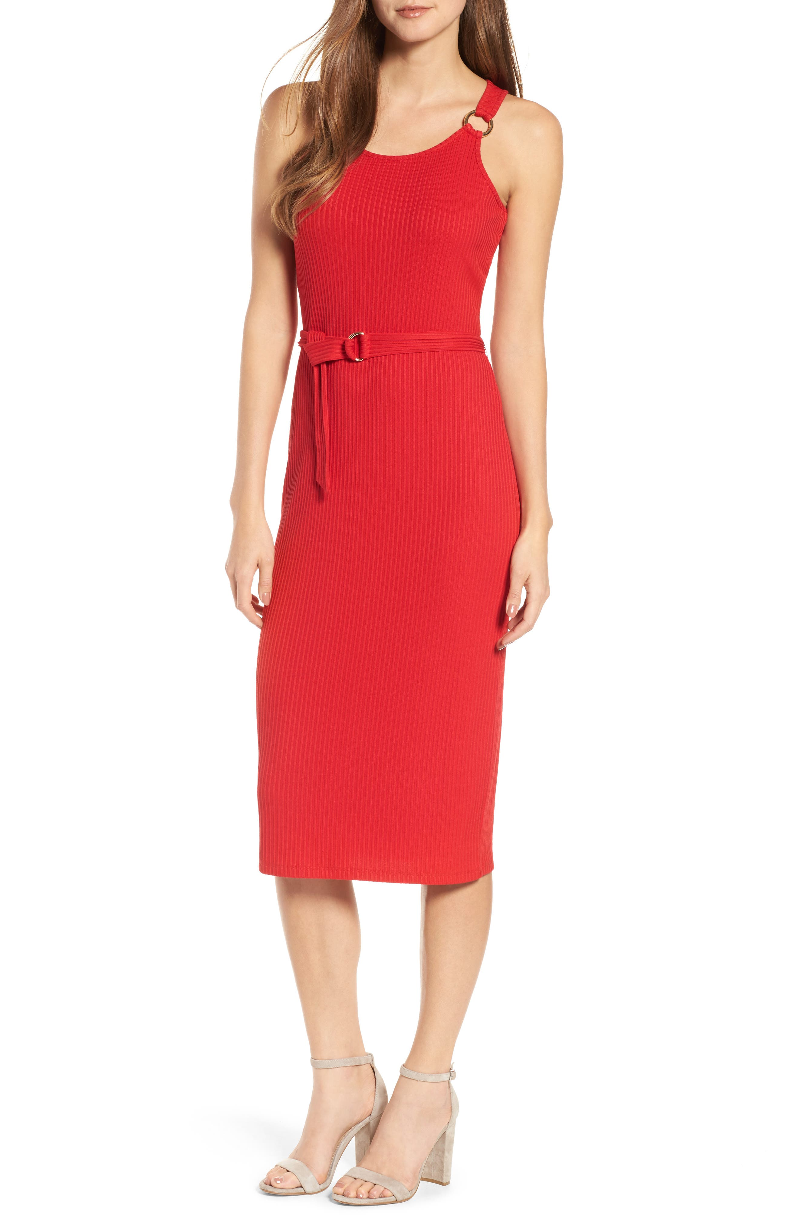 Ribbed Circle Trim Body-Con Dress,                         Main,                         color, True Red