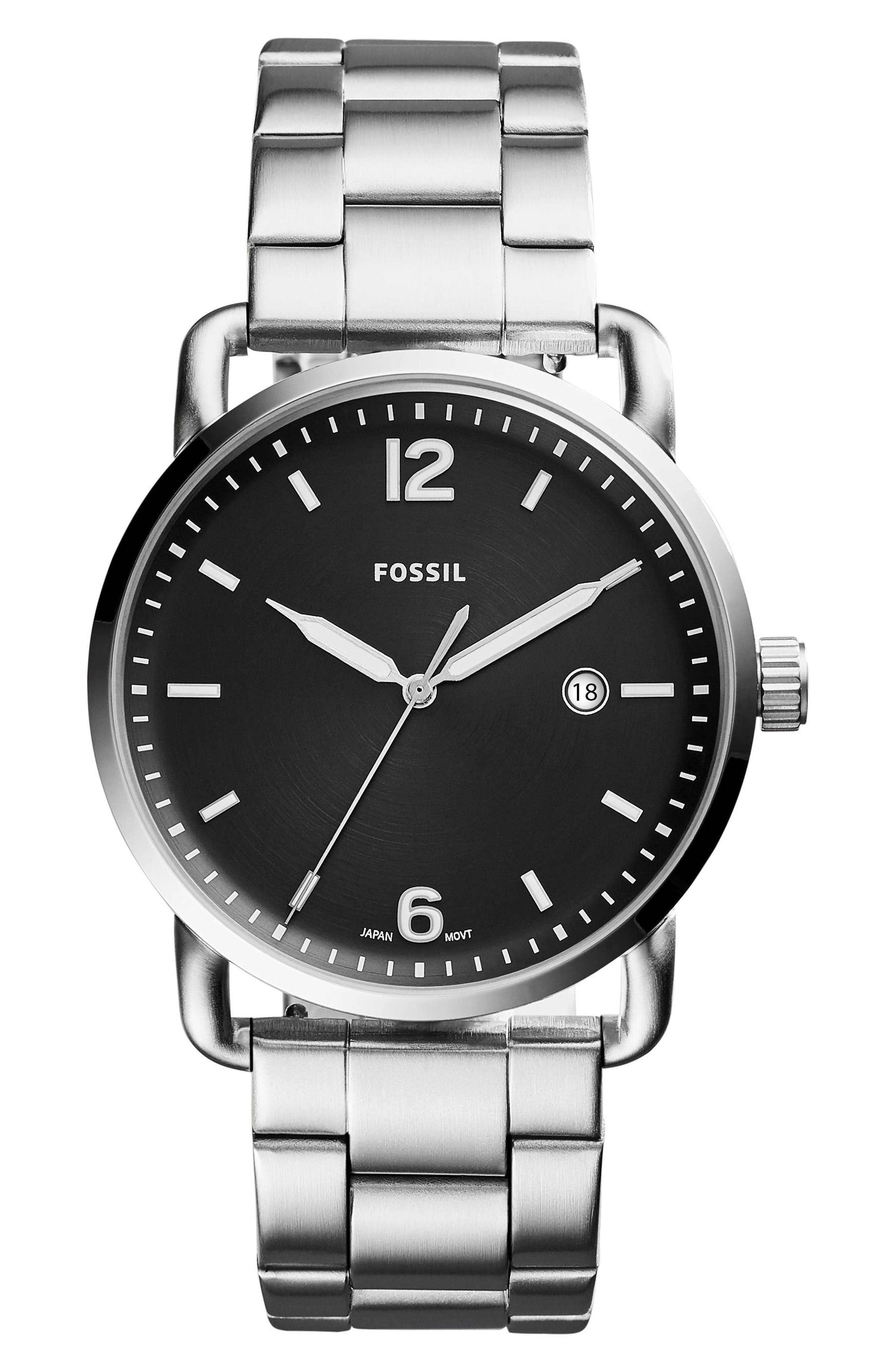 The Commuter Bracelet Watch, 42mm,                             Main thumbnail 1, color,                             Silver/ Black/ Silver