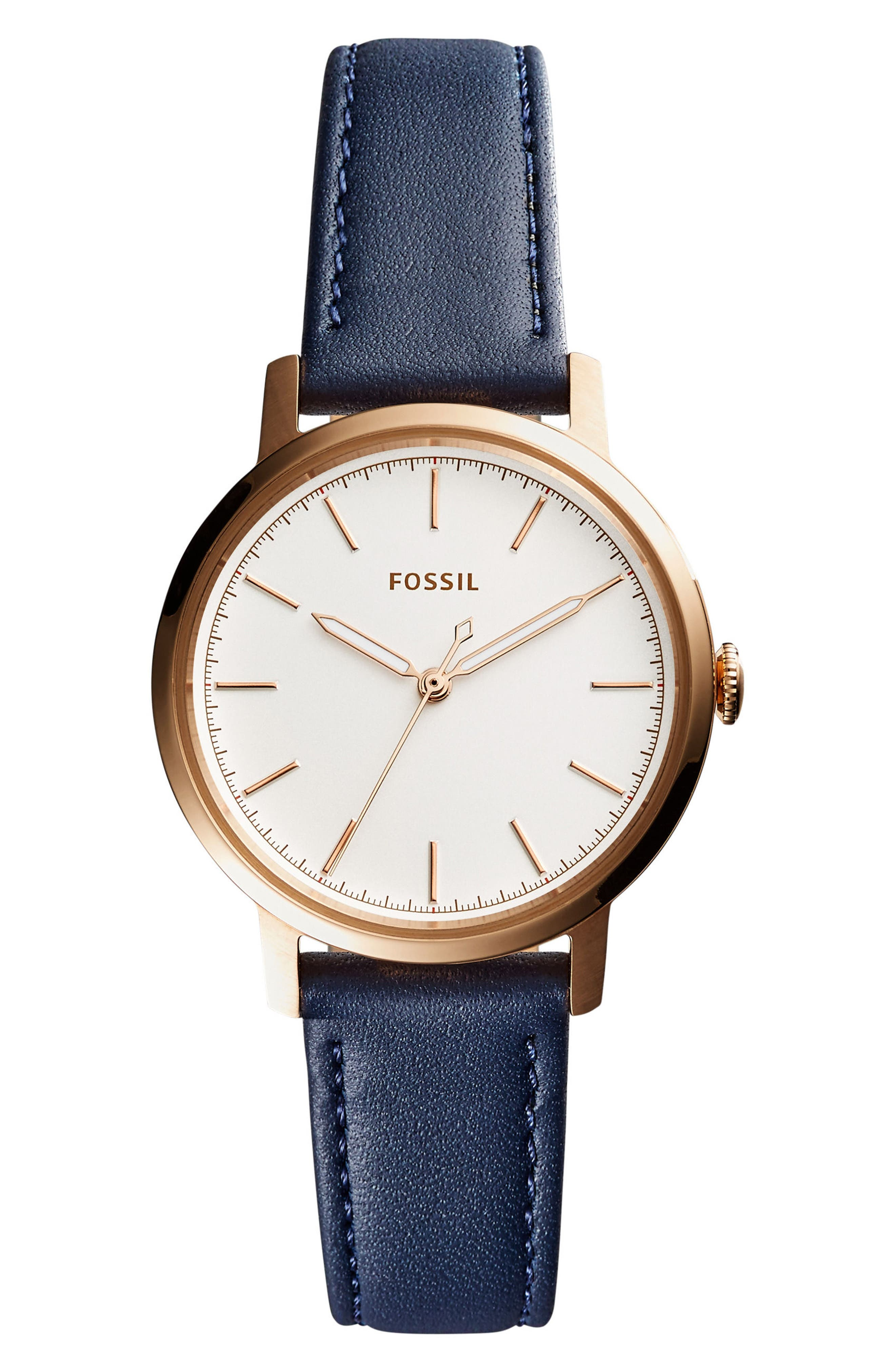 Neely Leather Strap Watch, 34mm,                         Main,                         color, Blue/ Silver/ Rose Gold