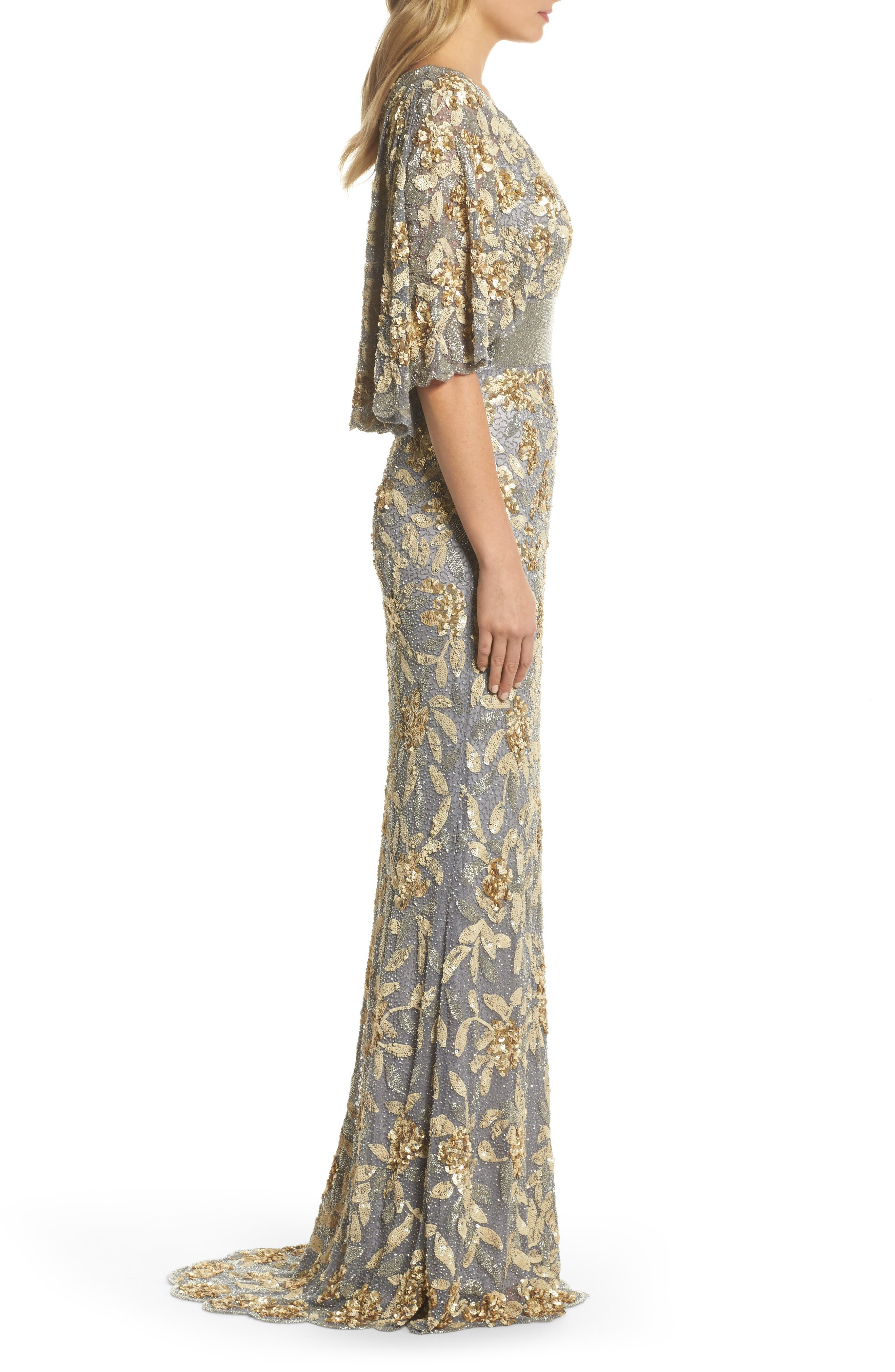 Sequin & Bead Embellished Gown,                             Alternate thumbnail 3, color,                             Platinum/ Gold