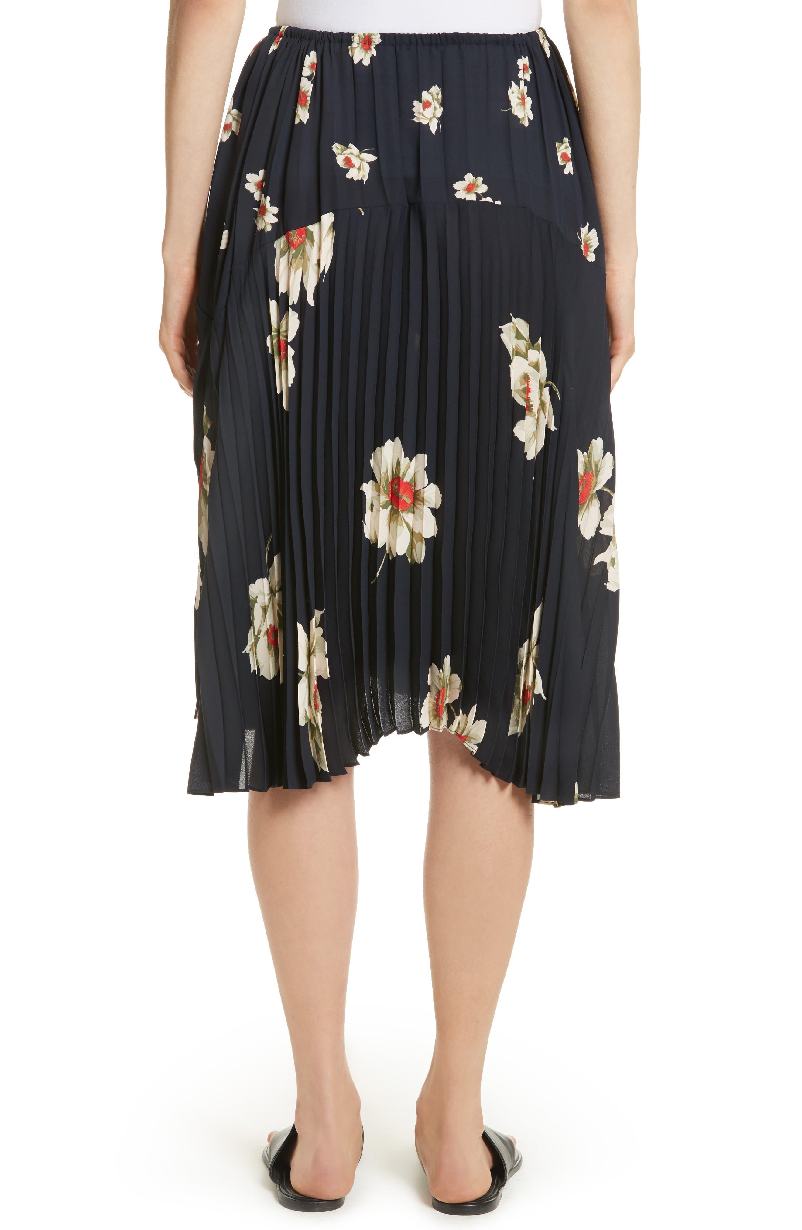Gardenia Floral Pleated Skirt,                             Alternate thumbnail 2, color,                             Coastal
