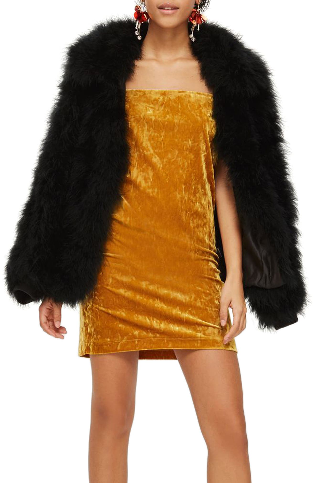 Velvet Square Neck Slipdress,                         Main,                         color, Mustard