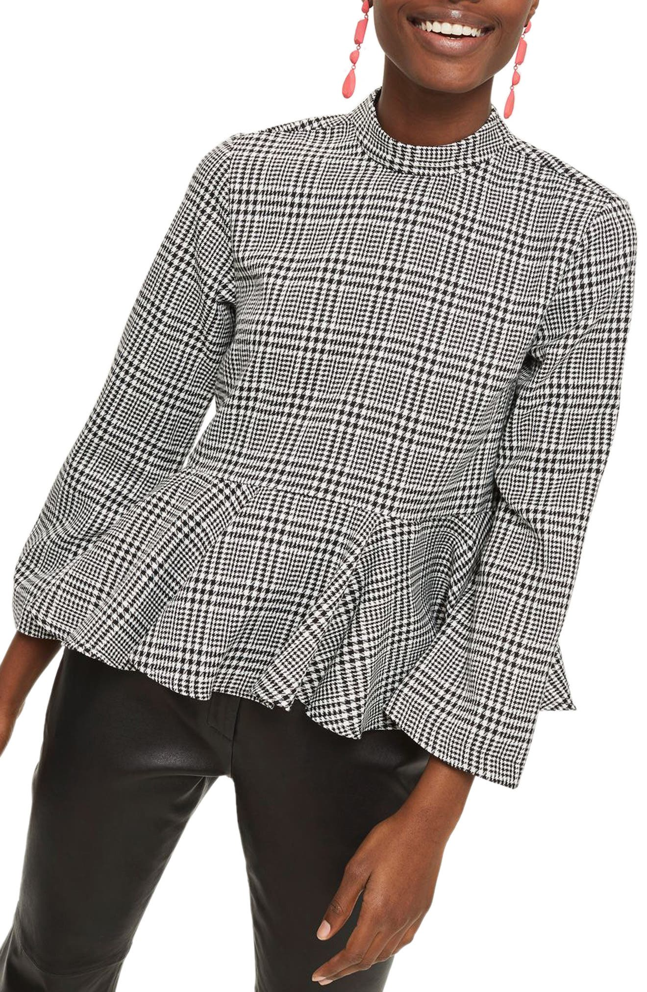 Check Peplum Blouse,                         Main,                         color, Grey Multi
