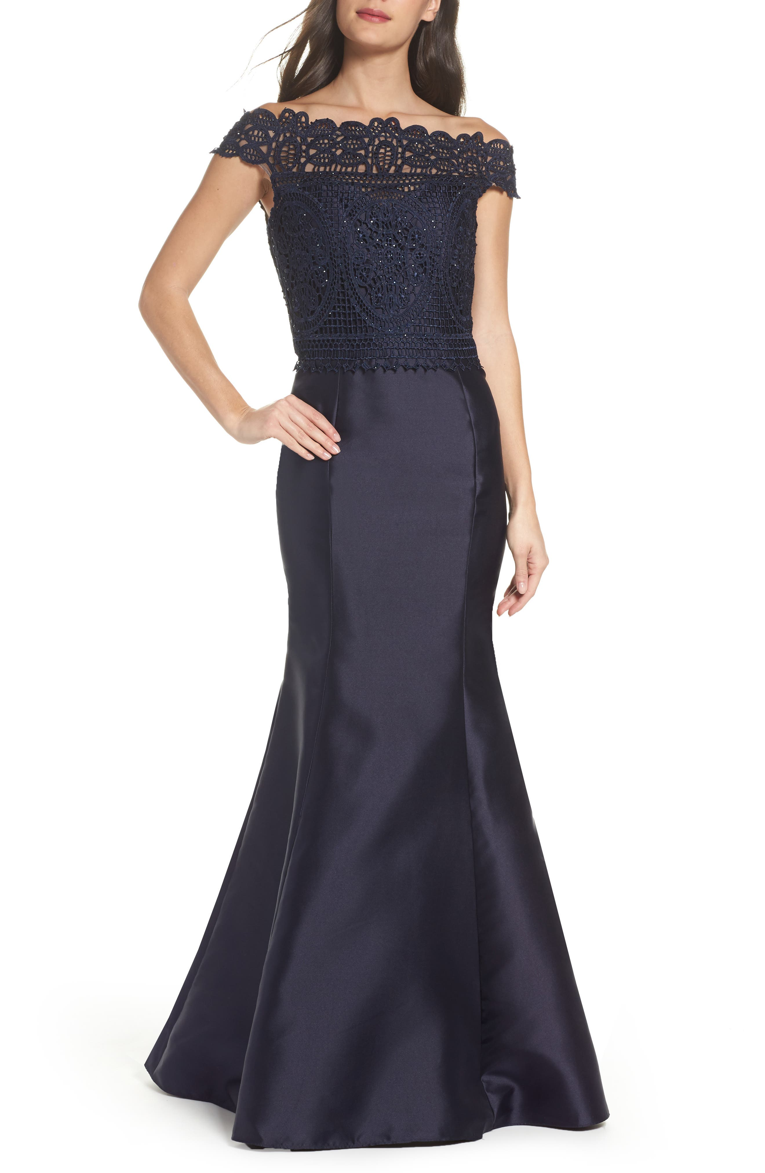 Lace & Twill Mermaid Gown,                             Main thumbnail 1, color,                             Navy