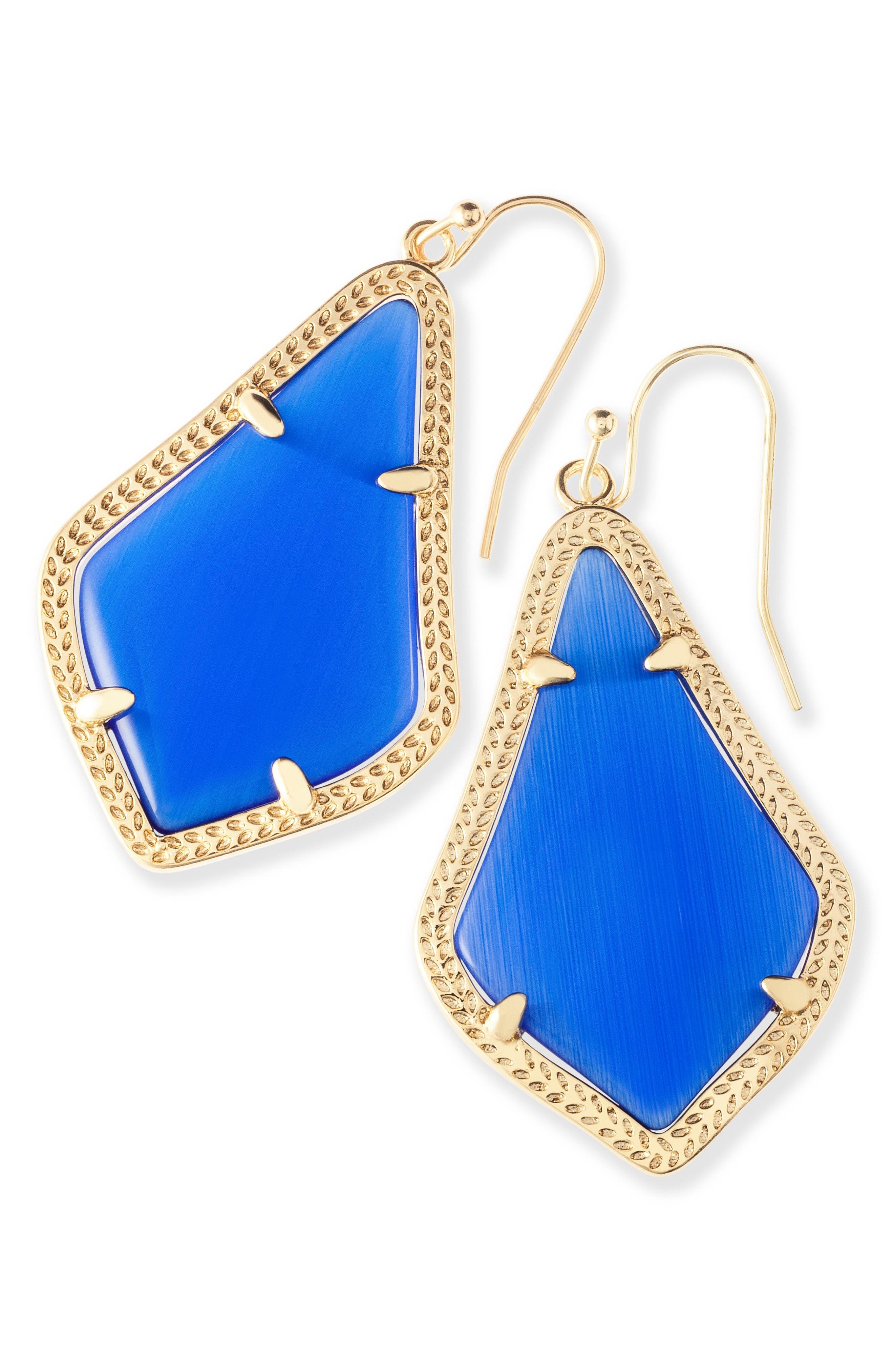 Alex Drop Earrings,                             Alternate thumbnail 2, color,                             Cobalt Catseye/ Gold