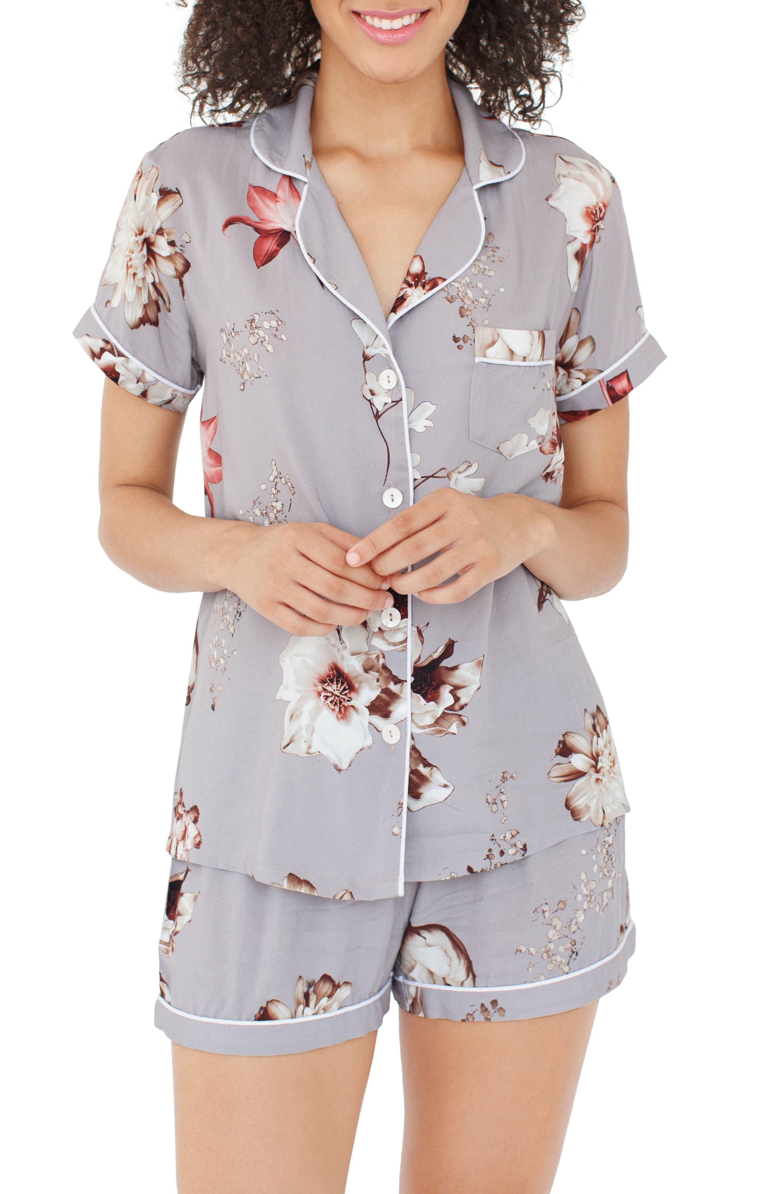 Floral Short Pajamas,                         Main,                         color, Camino