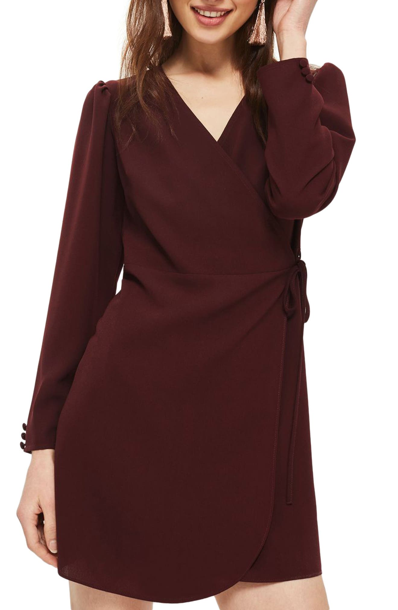 Topshop Crepe Wrap Minidress