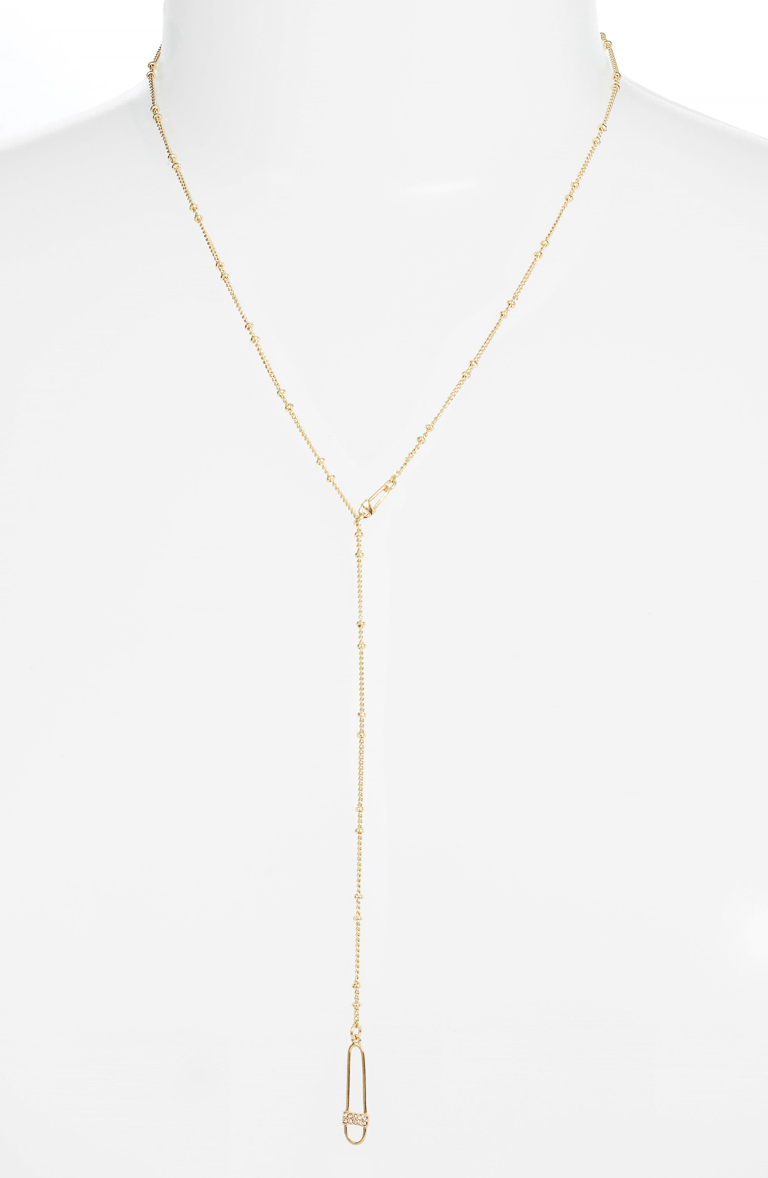 Safety Pin Lariat Necklace,                         Main,                         color, Gold
