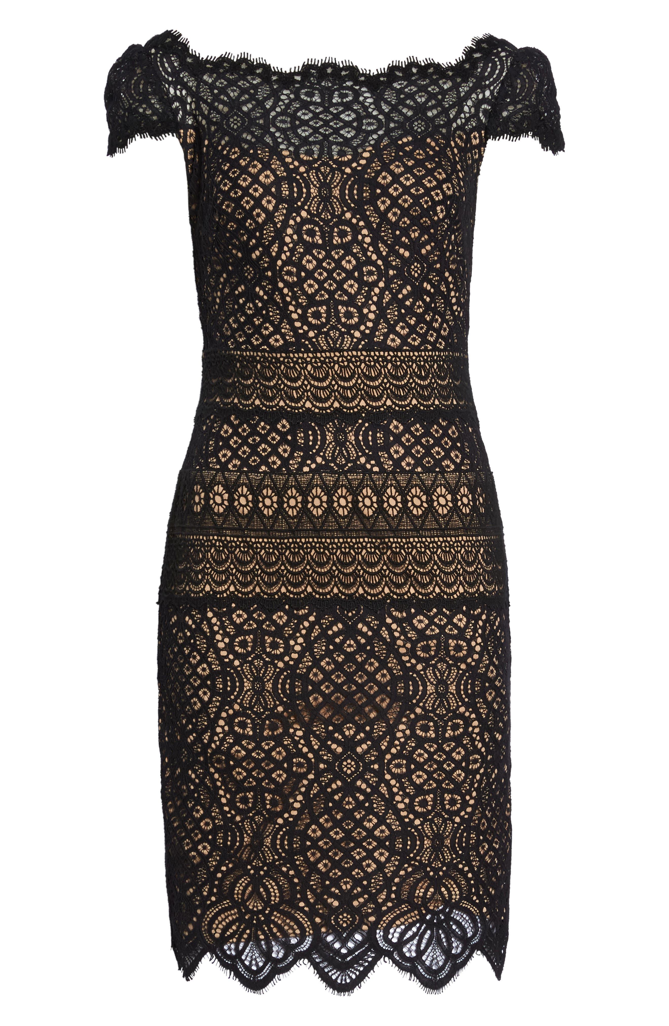 Lace Cap Sleeve Dress,                             Alternate thumbnail 6, color,                             Black / Nude