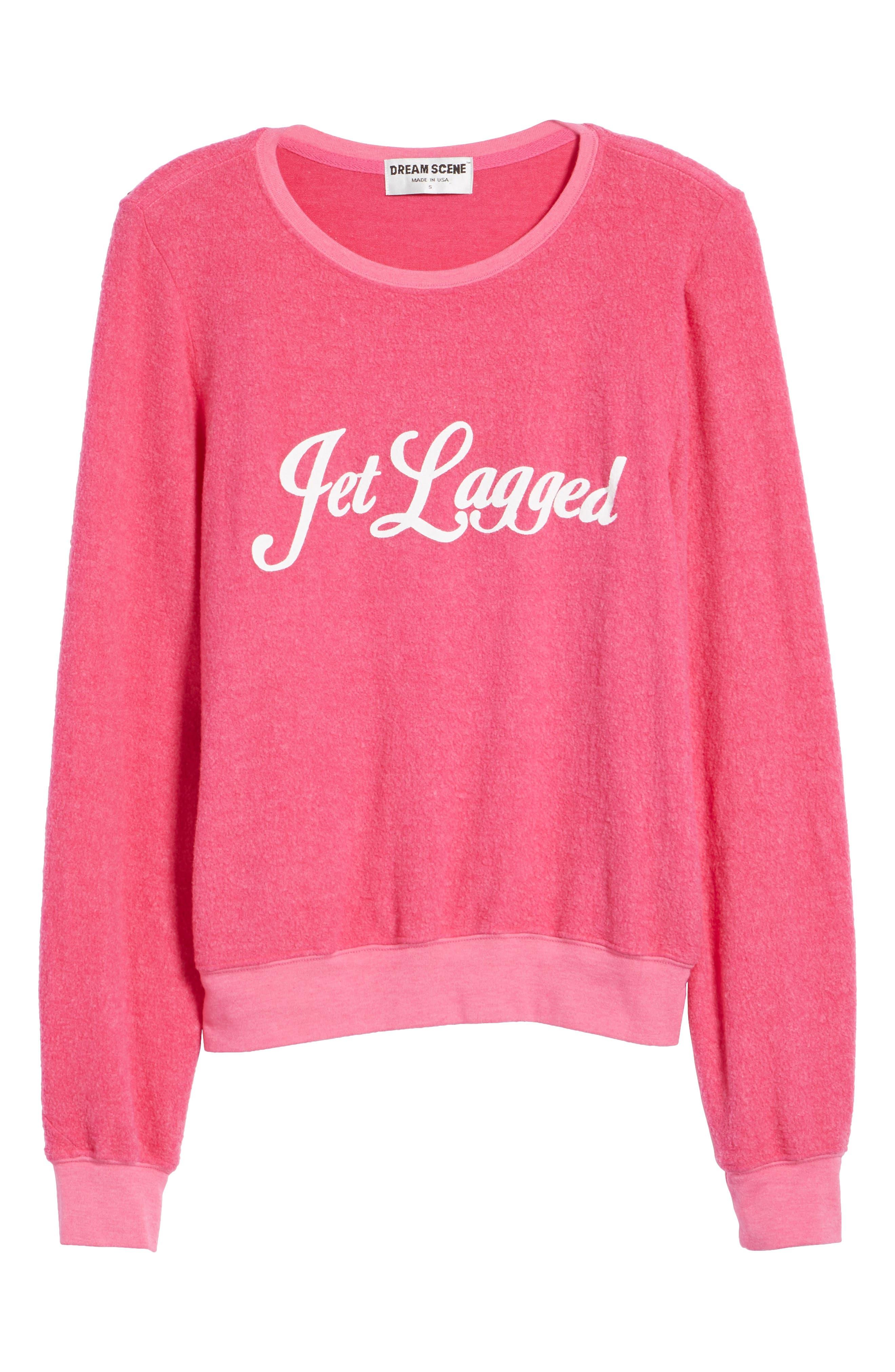 Jet Lagged Sweatshirt,                             Alternate thumbnail 6, color,                             Malibu Pink