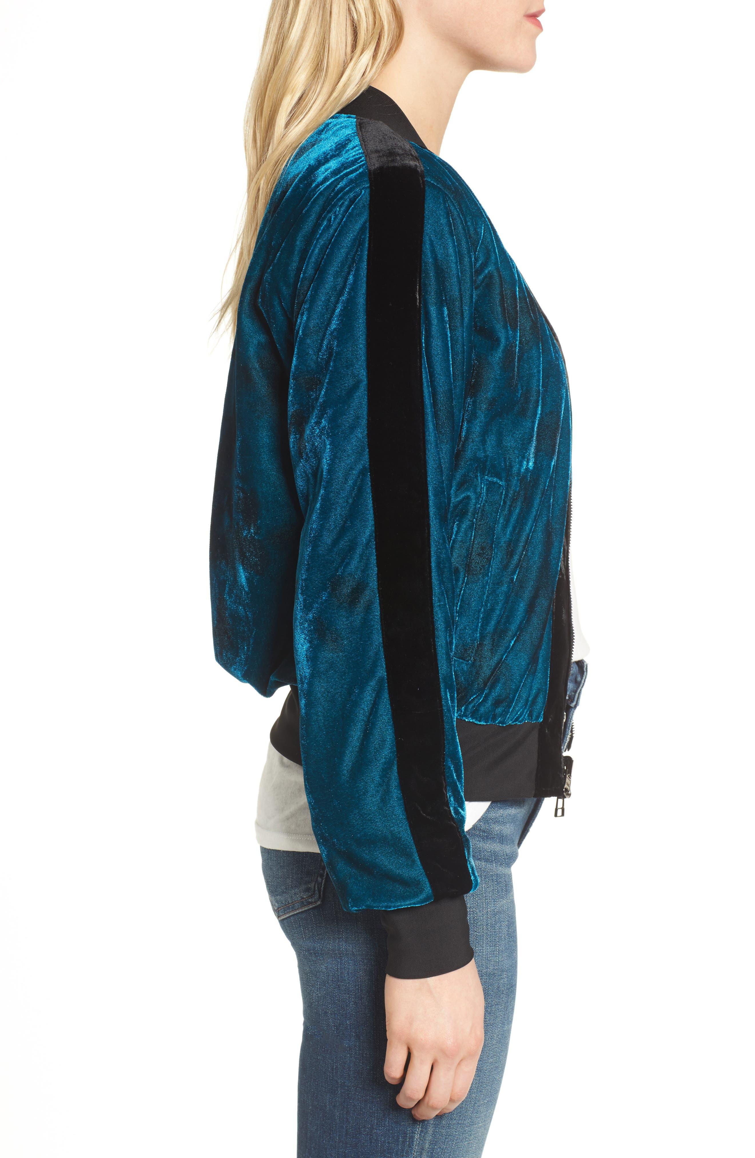 Reversible Baseball Jacket,                             Alternate thumbnail 3, color,                             Sapphire