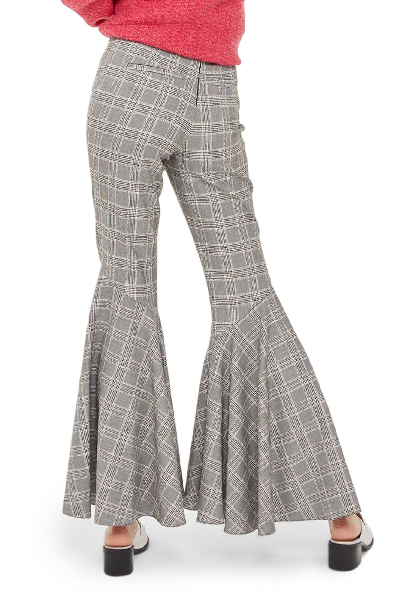 Alternate Image 4  - Topshop Checked Super Flare Trousers