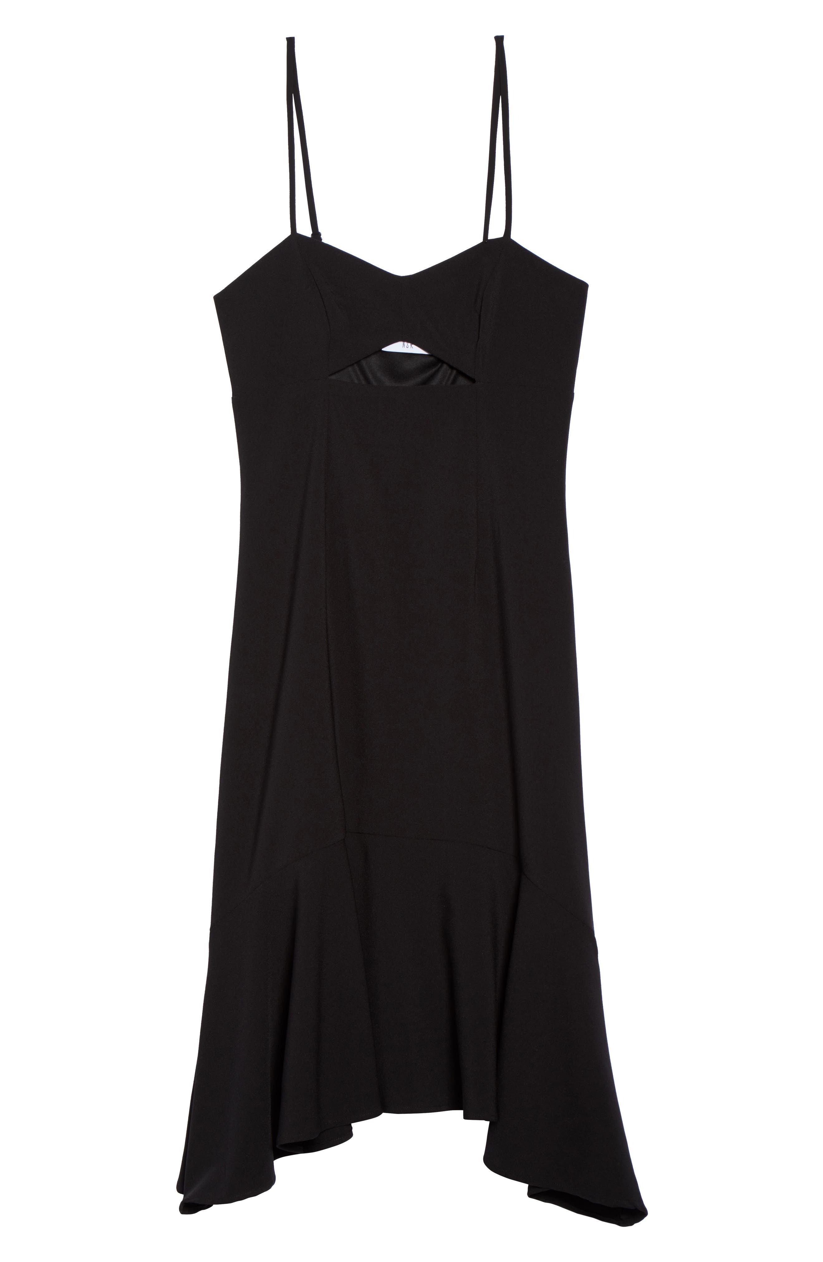 Cutout Midi Dress,                             Alternate thumbnail 6, color,                             Black
