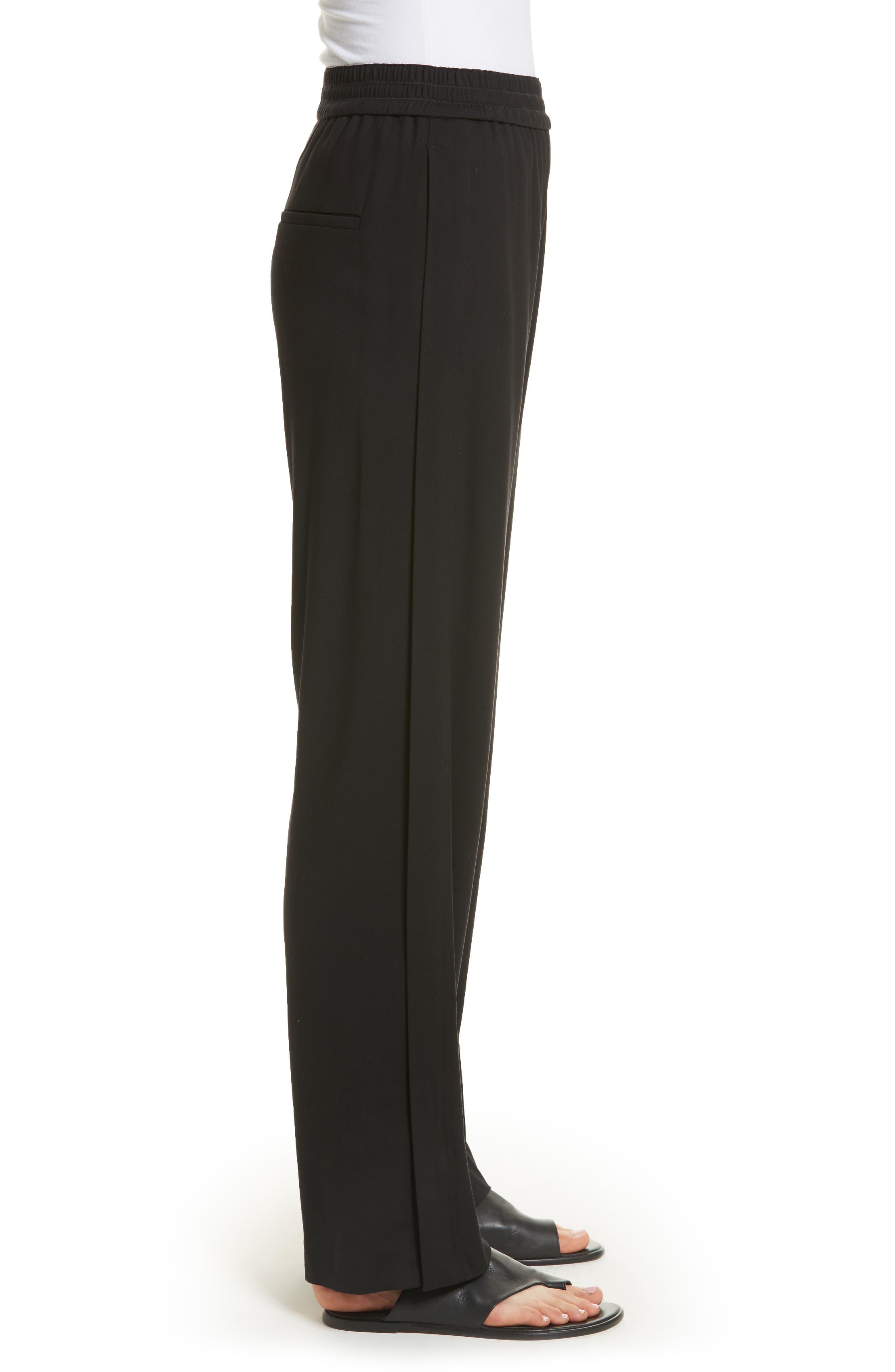 Ankle Zip Wide Leg Pants,                             Alternate thumbnail 3, color,                             Black