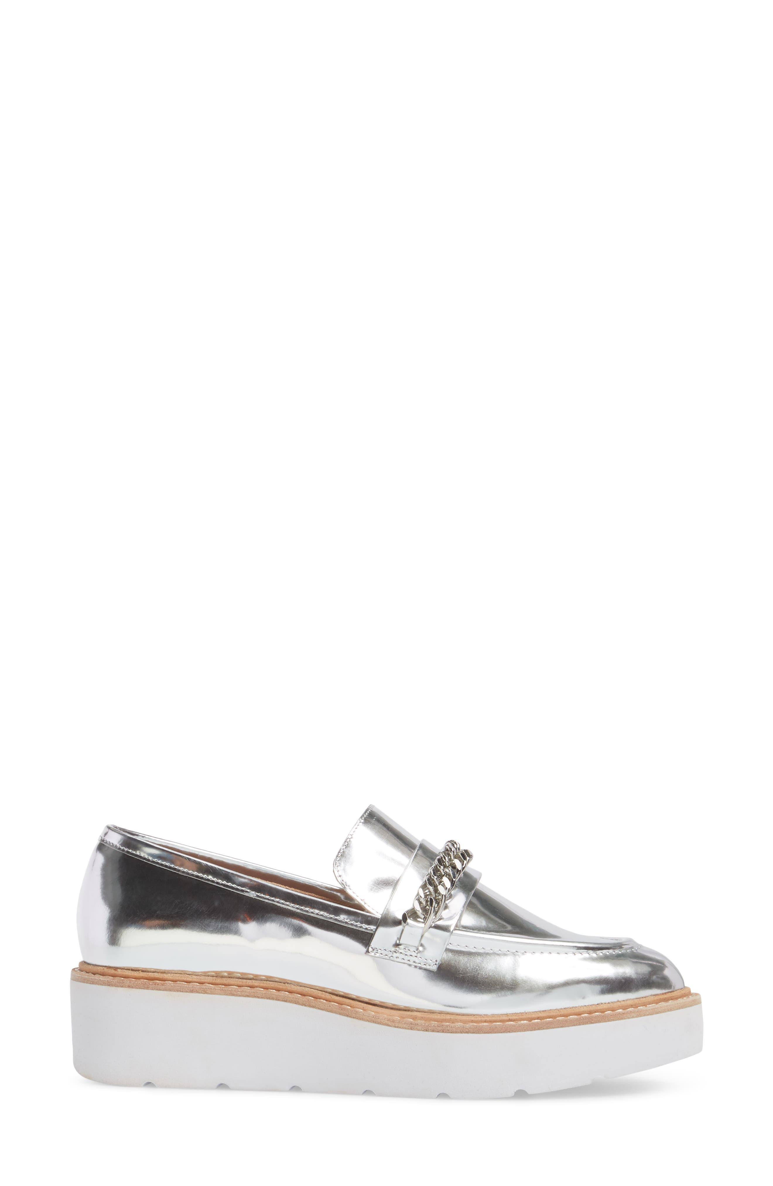 Jacki Platform Loafer,                             Alternate thumbnail 3, color,                             Silver Leather