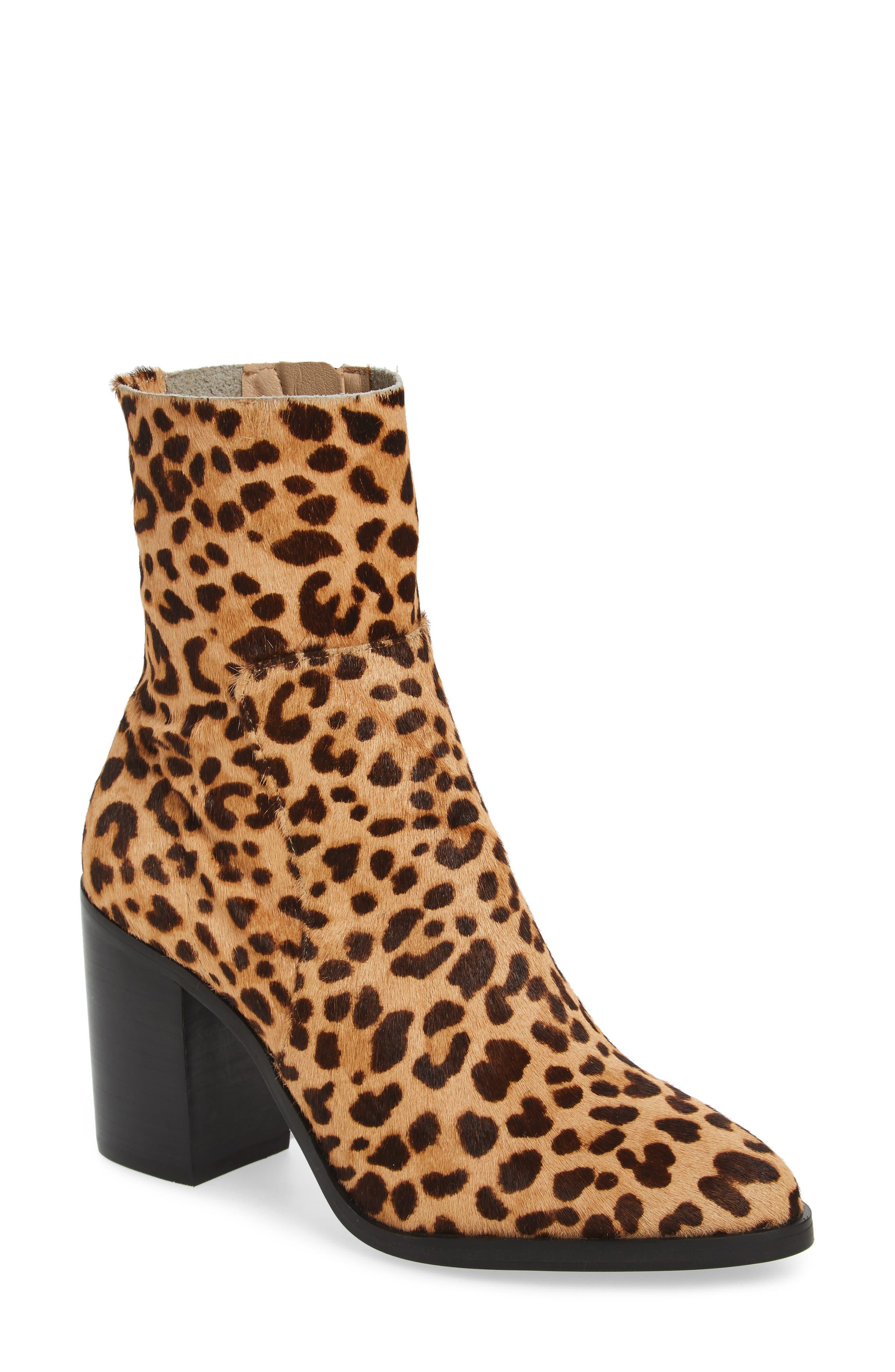 Rewind-L Genuine Calf Hair Bootie,                         Main,                         color, Leopard