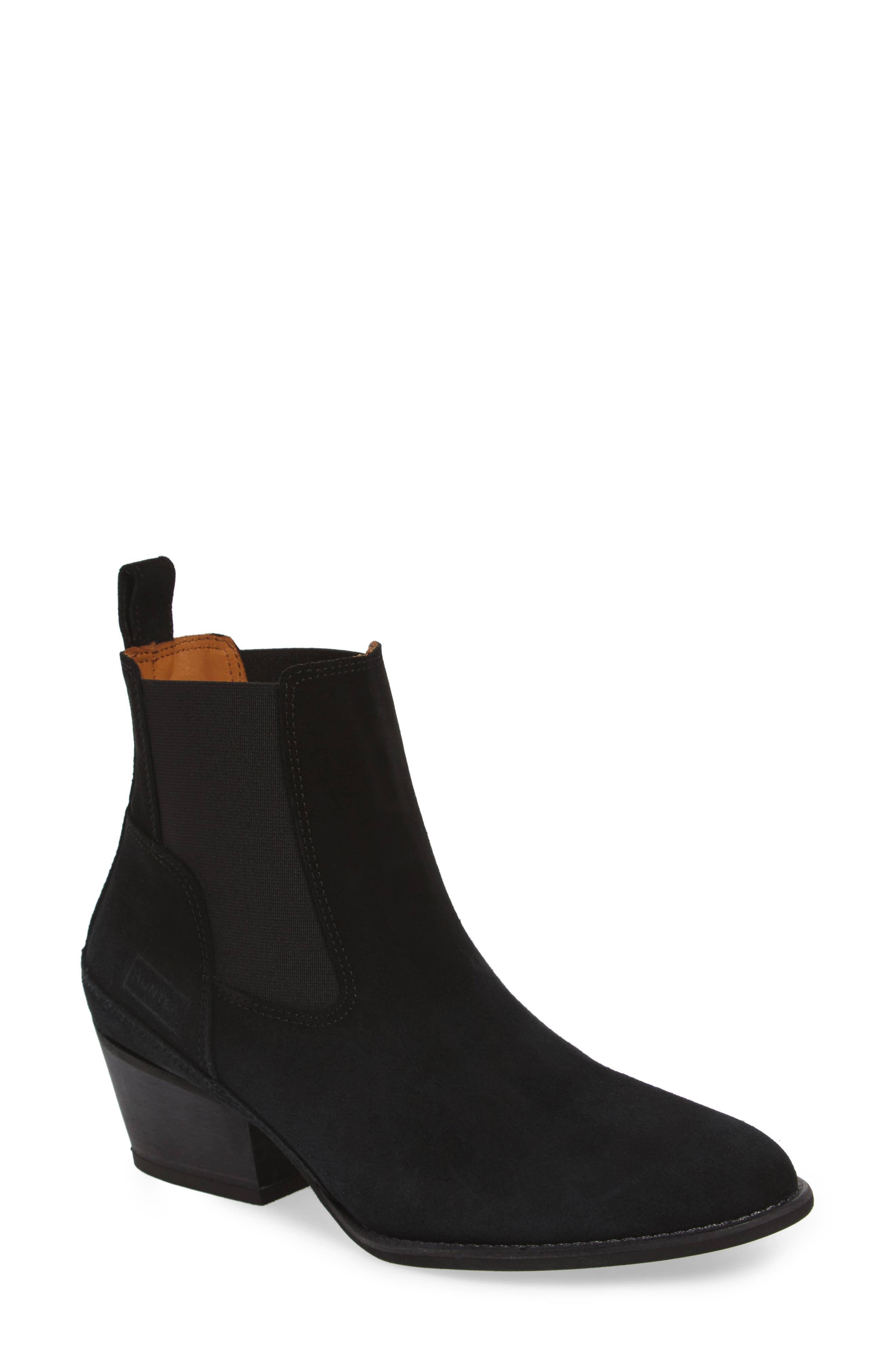 Original Refined Water Resistant Chelsea Boot,                             Main thumbnail 1, color,                             Black Suede