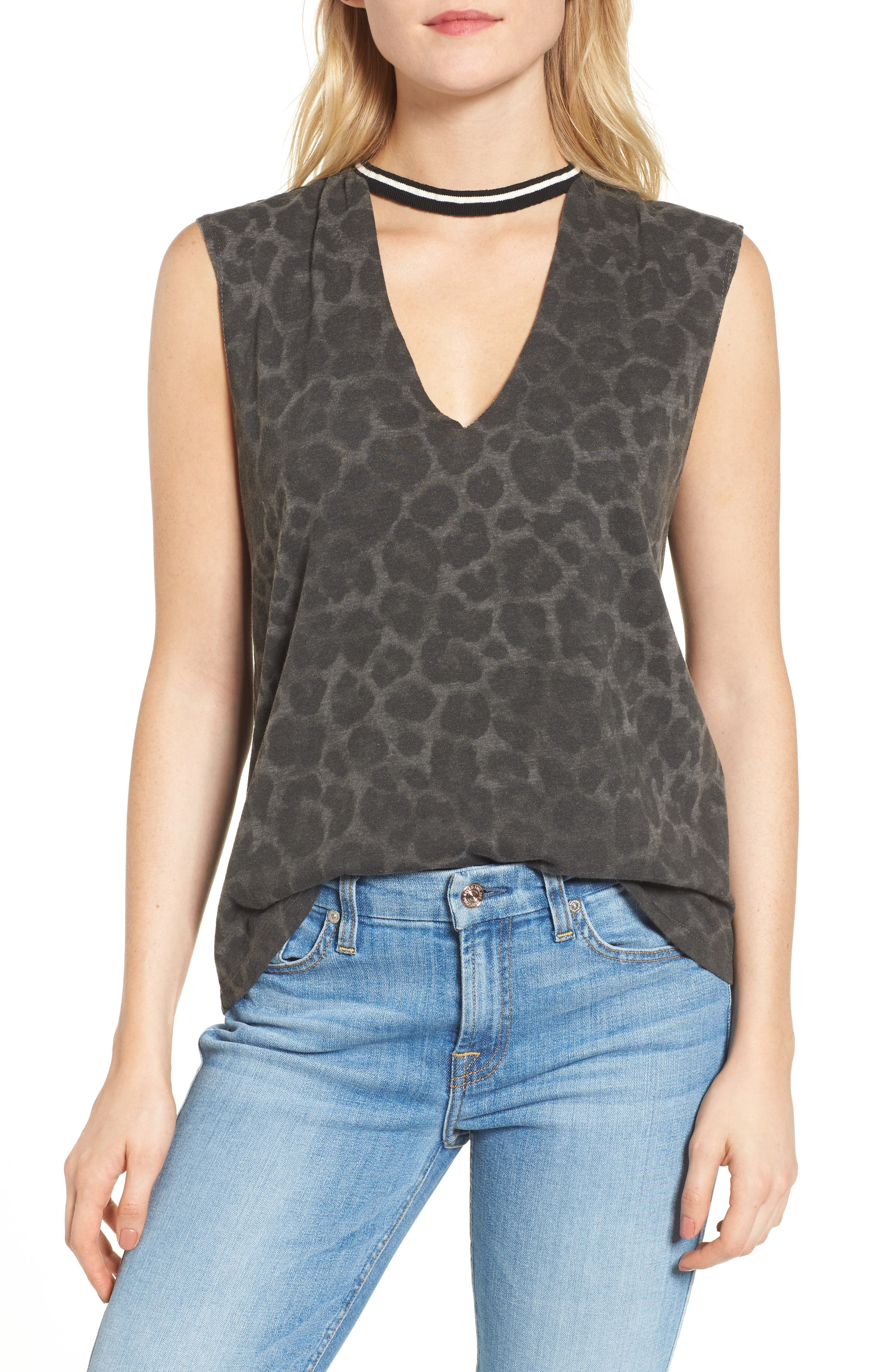 Choker Top,                         Main,                         color, Leopard Print