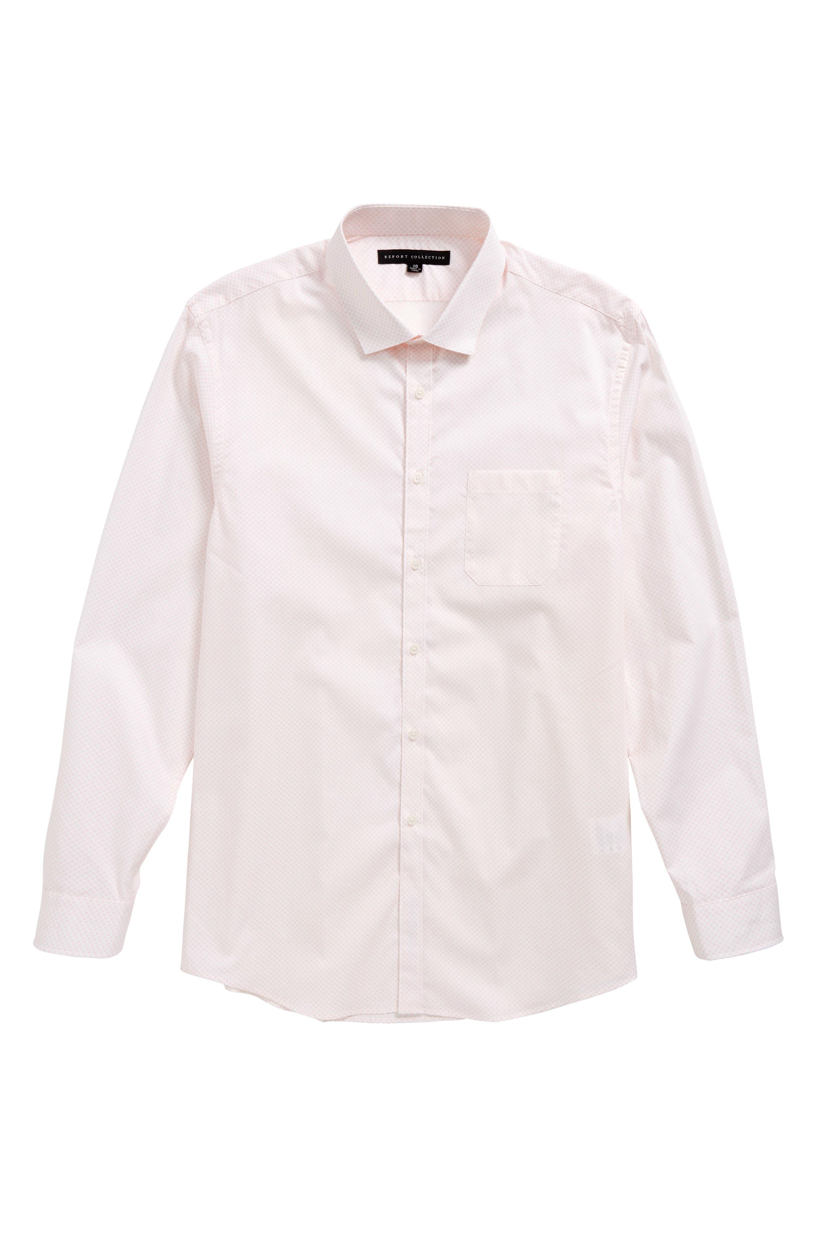 Dot Print Dress Shirt,                             Main thumbnail 1, color,                             Pink