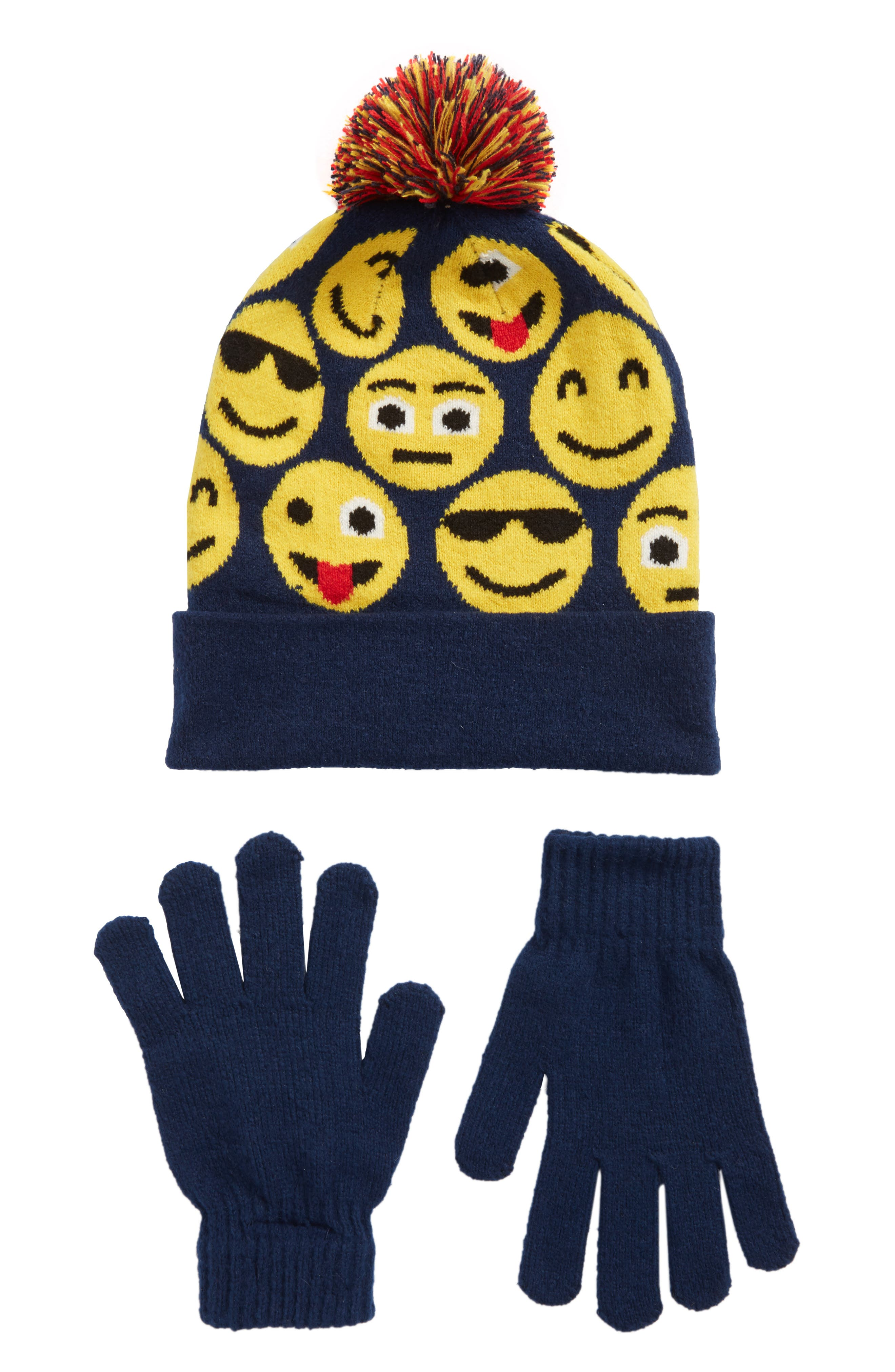Capelli of New York Emoji Hat & Gloves Set,                         Main,                         color, Navy Combo