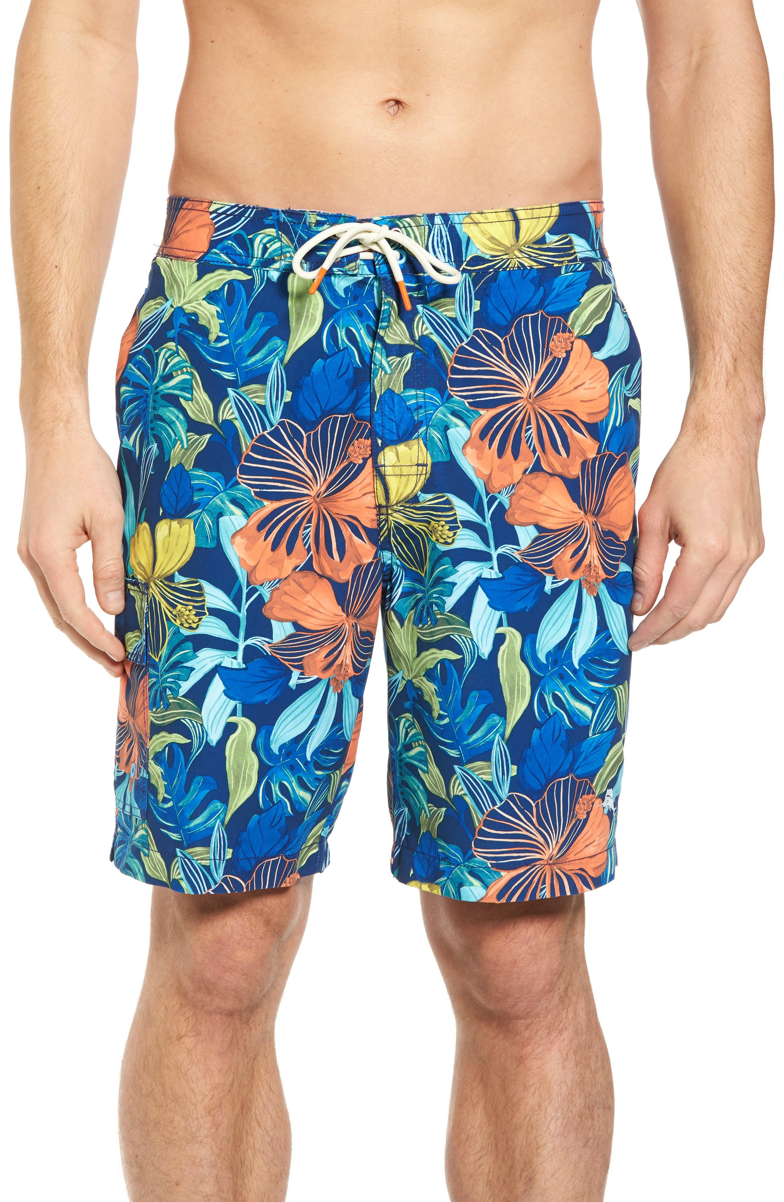 Baja Hibiscus Beach Swim Trunks,                             Main thumbnail 1, color,                             Kingdom Blue